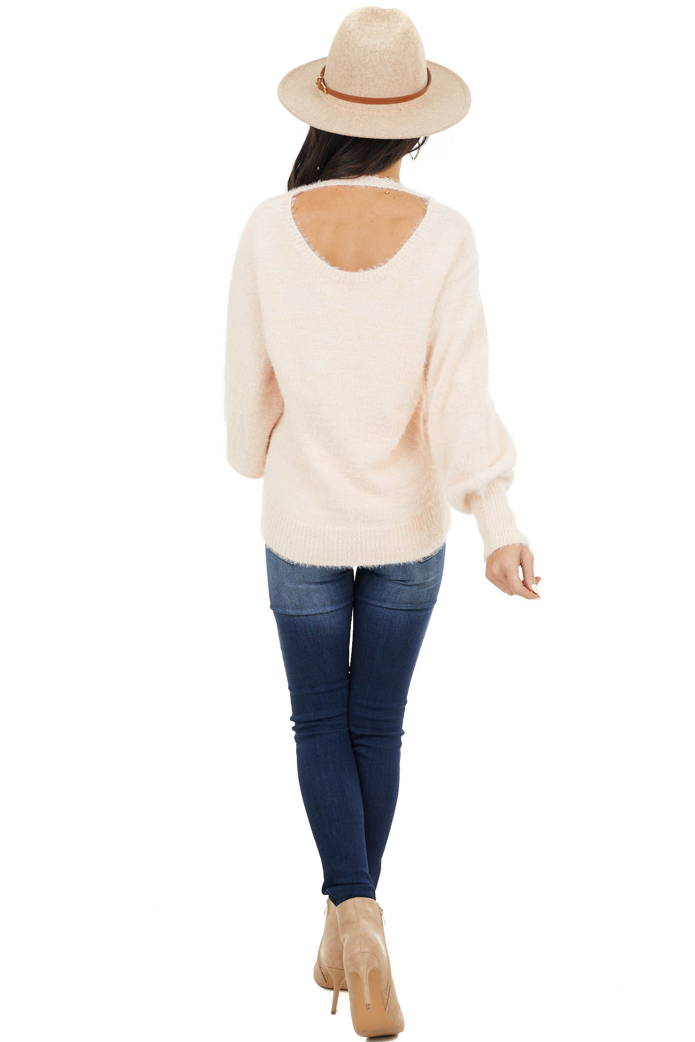 Blush Long Bubble Sleeve Fuzzy Knit Sweater with Back Cutout