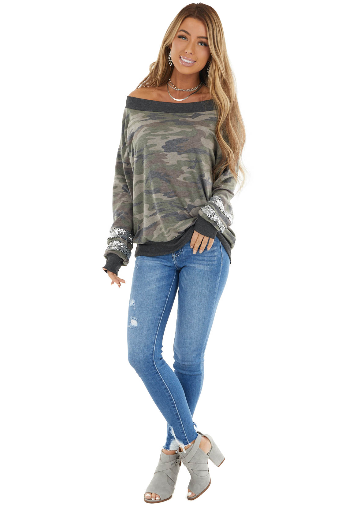 Hunter Green Camo Long Sleeve Top with Silver Sequins Detail