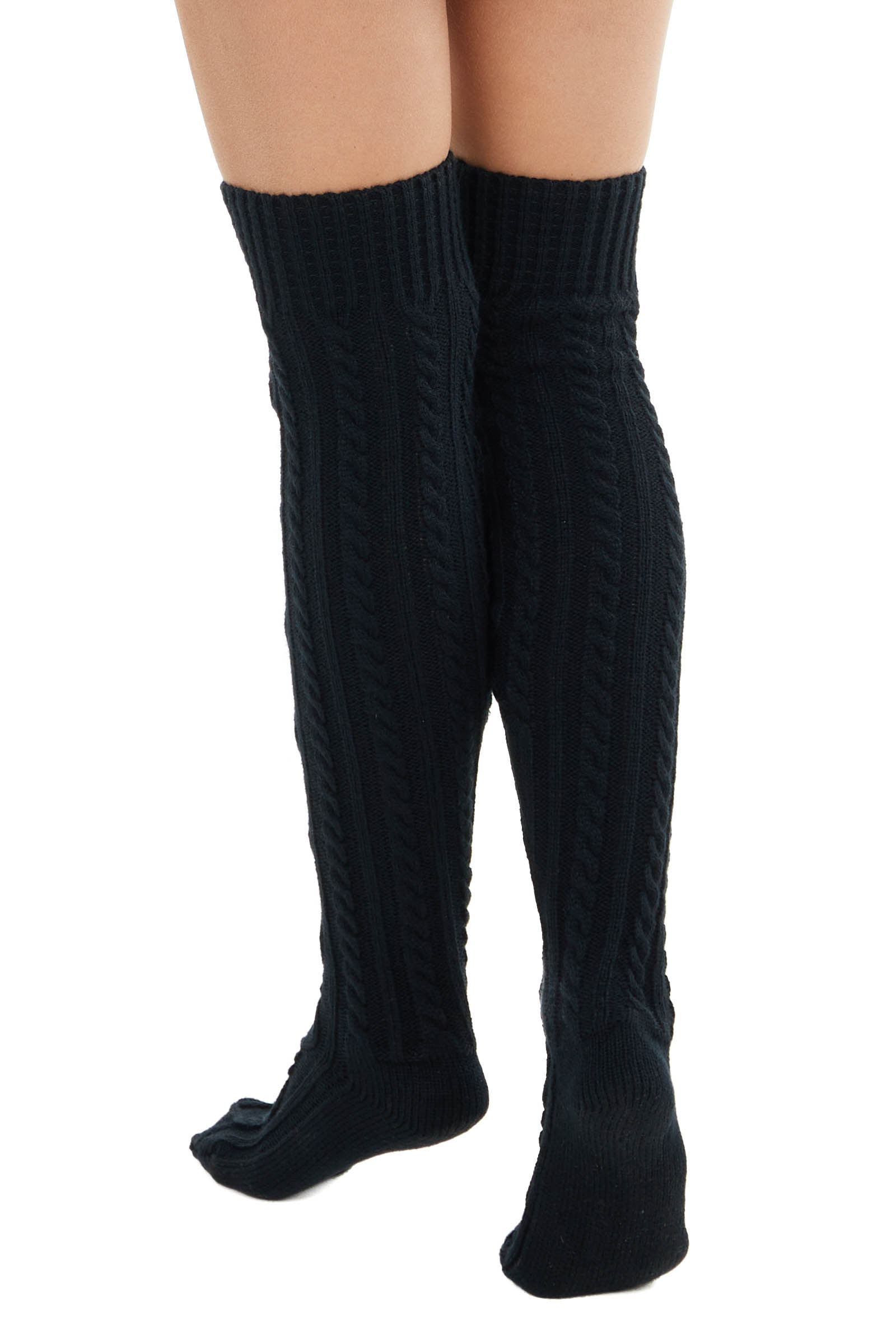 Black Cable Knit Over the Knee High Fashion Socks