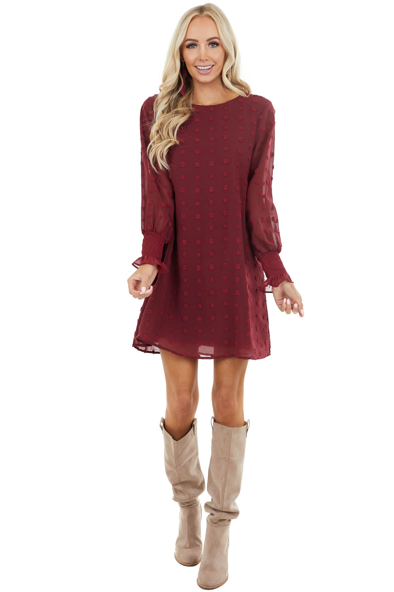 Wine Woven Swiss Dot Short Dress with Long Bubble Sleeves