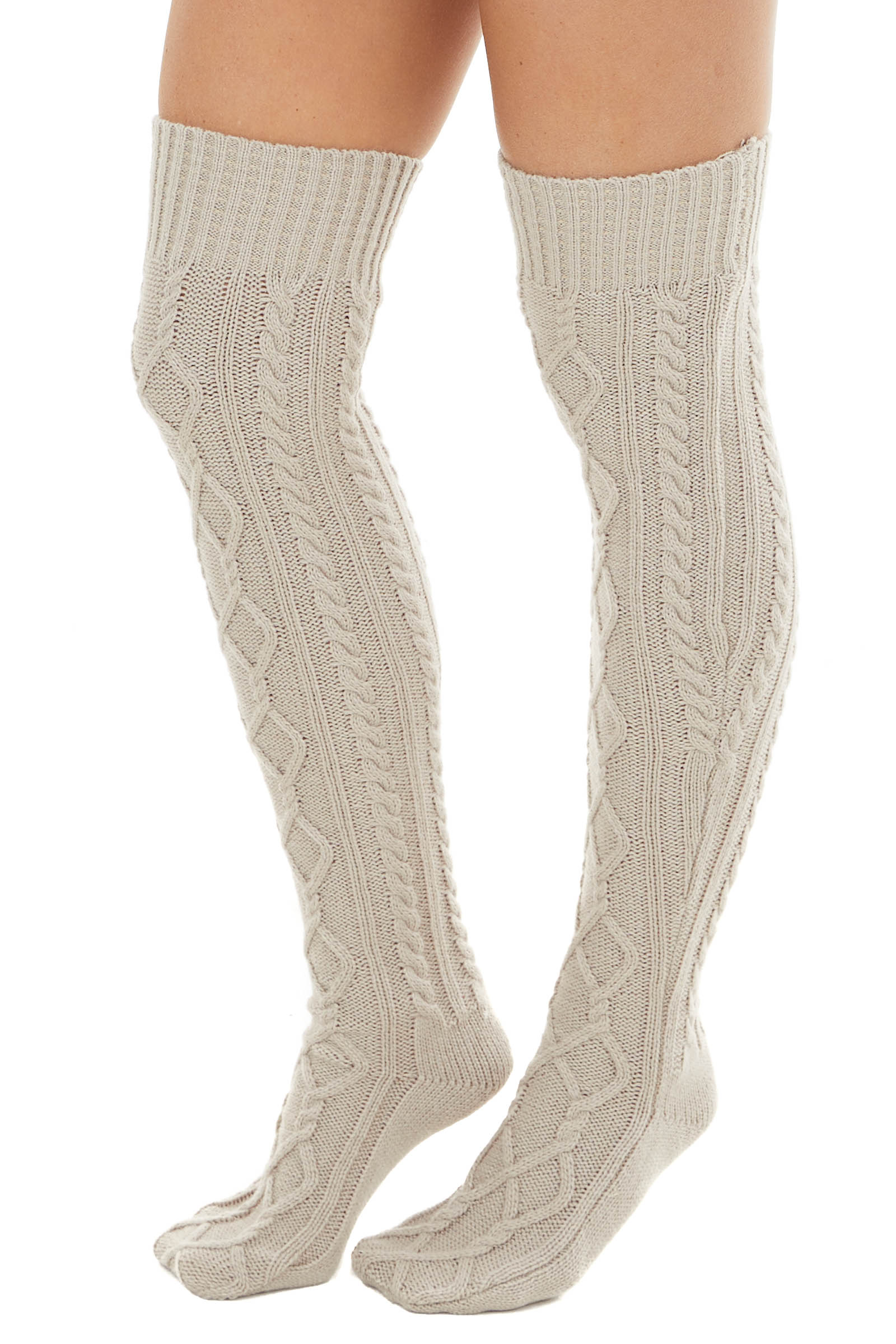 Beige Cable Knit Over the Knee High Fashion Socks