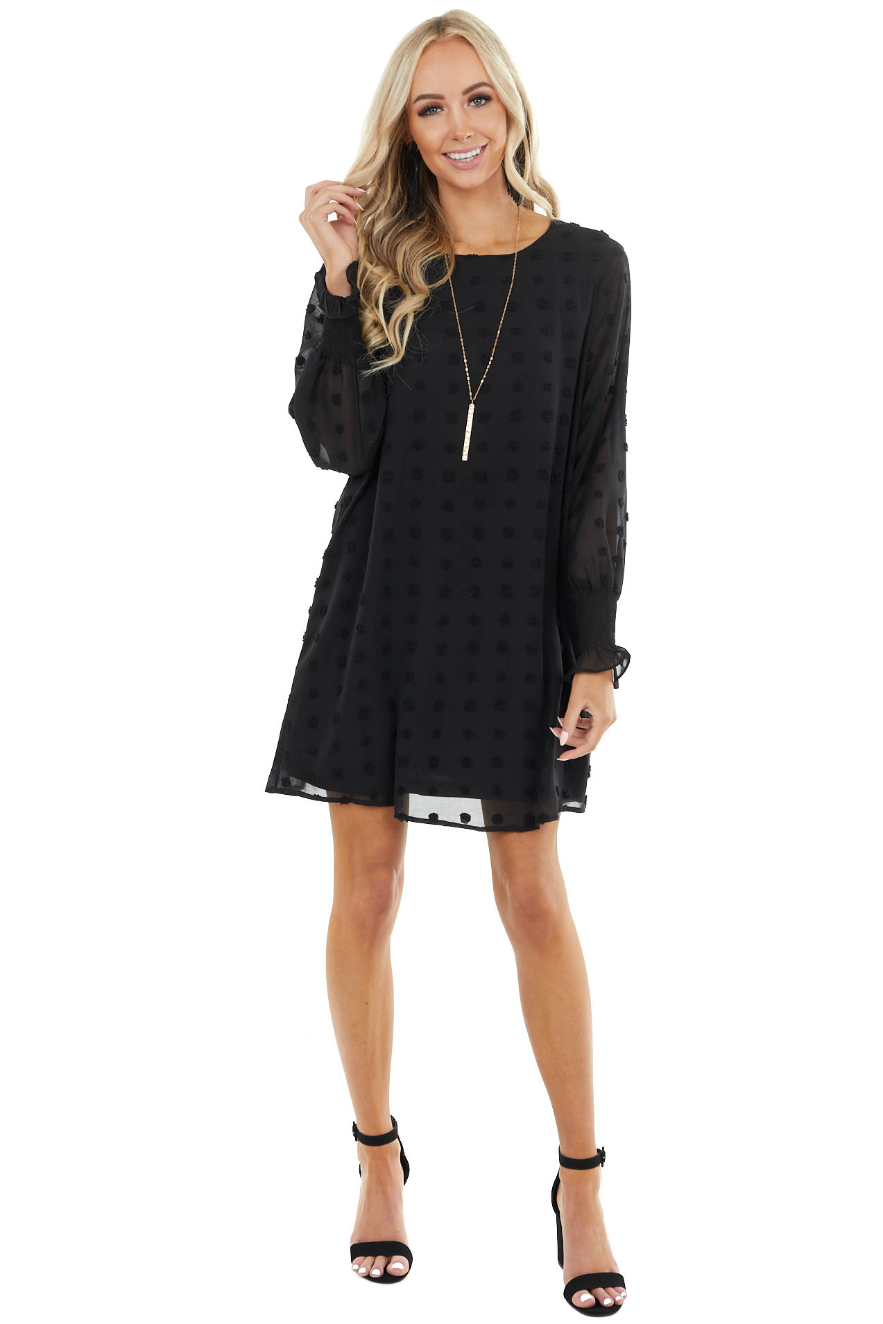 Black Woven Swiss Dot Short Dress with Long Bubble Sleeves
