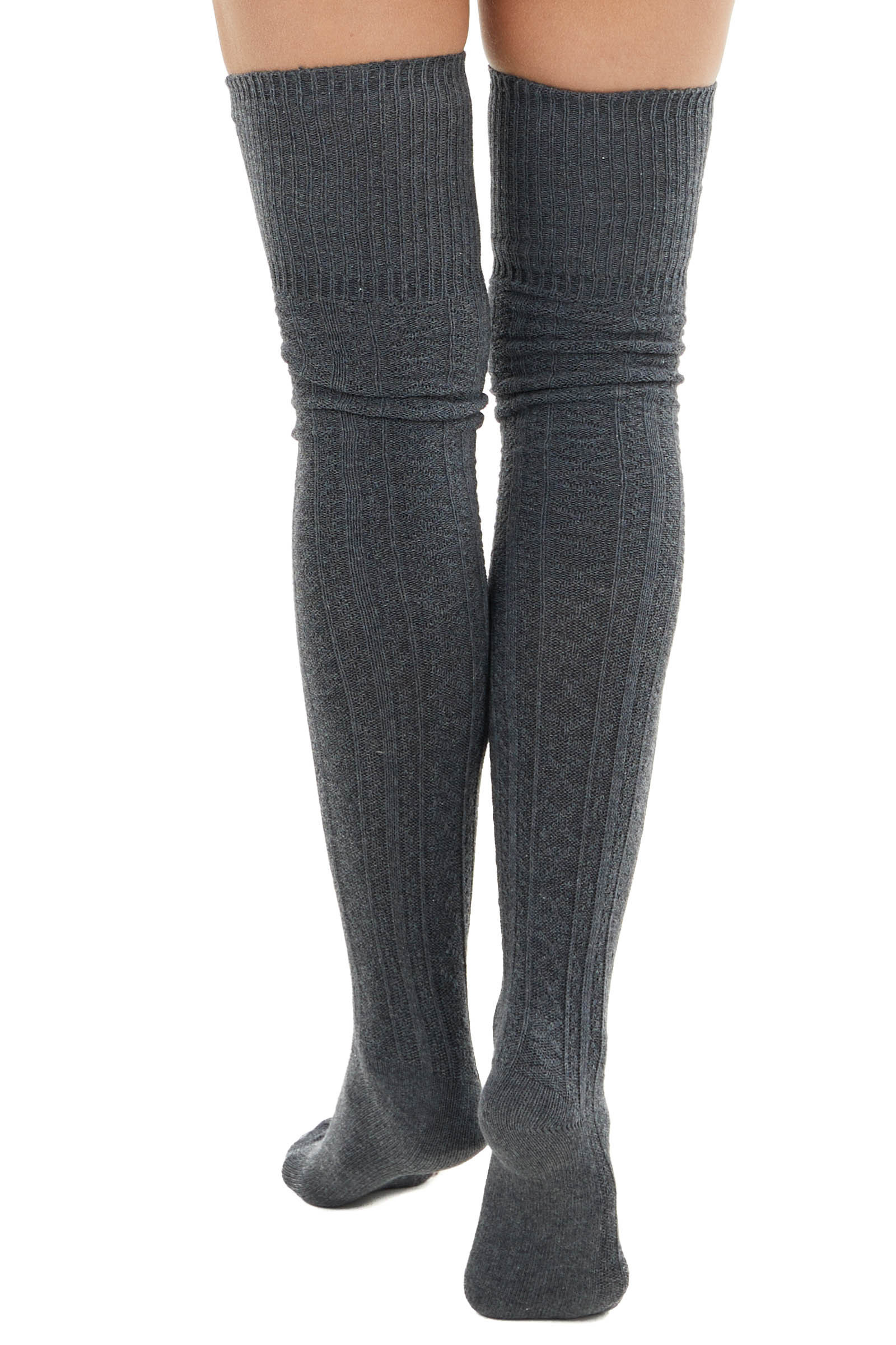 Charcoal Small Cable Knit Over the Knee High Fashion Socks