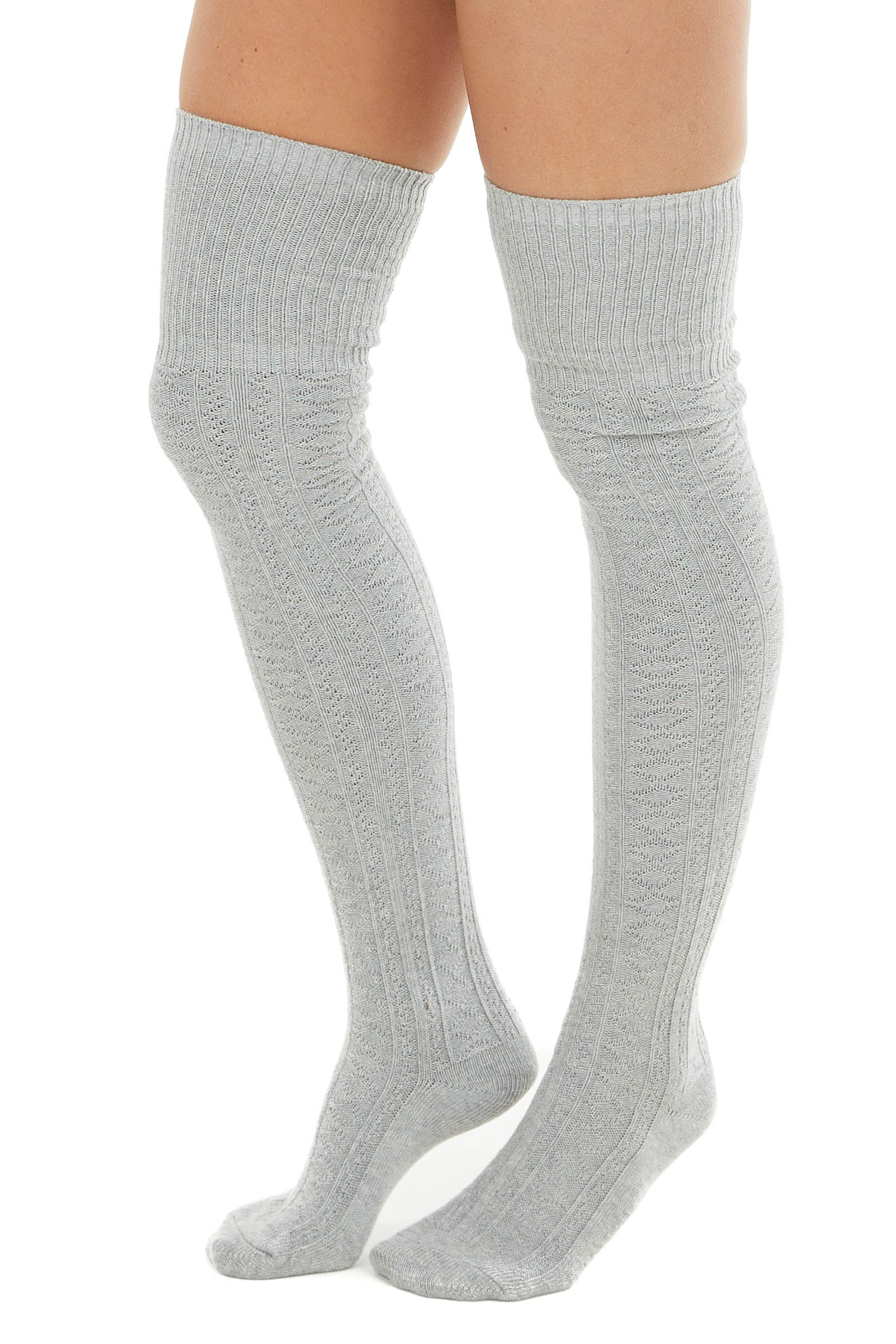 Light Grey Small Cable Knit Over the Knee High Fashion Socks
