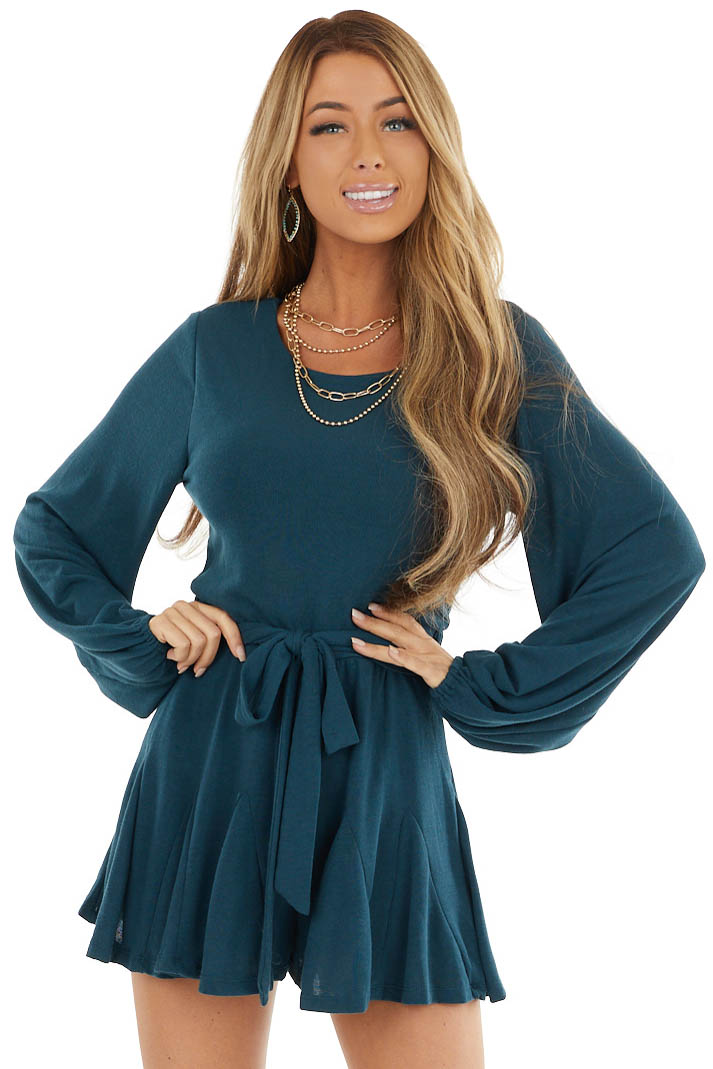 Dark Teal Romper with Long Bubble Sleeves and Flutter Hem