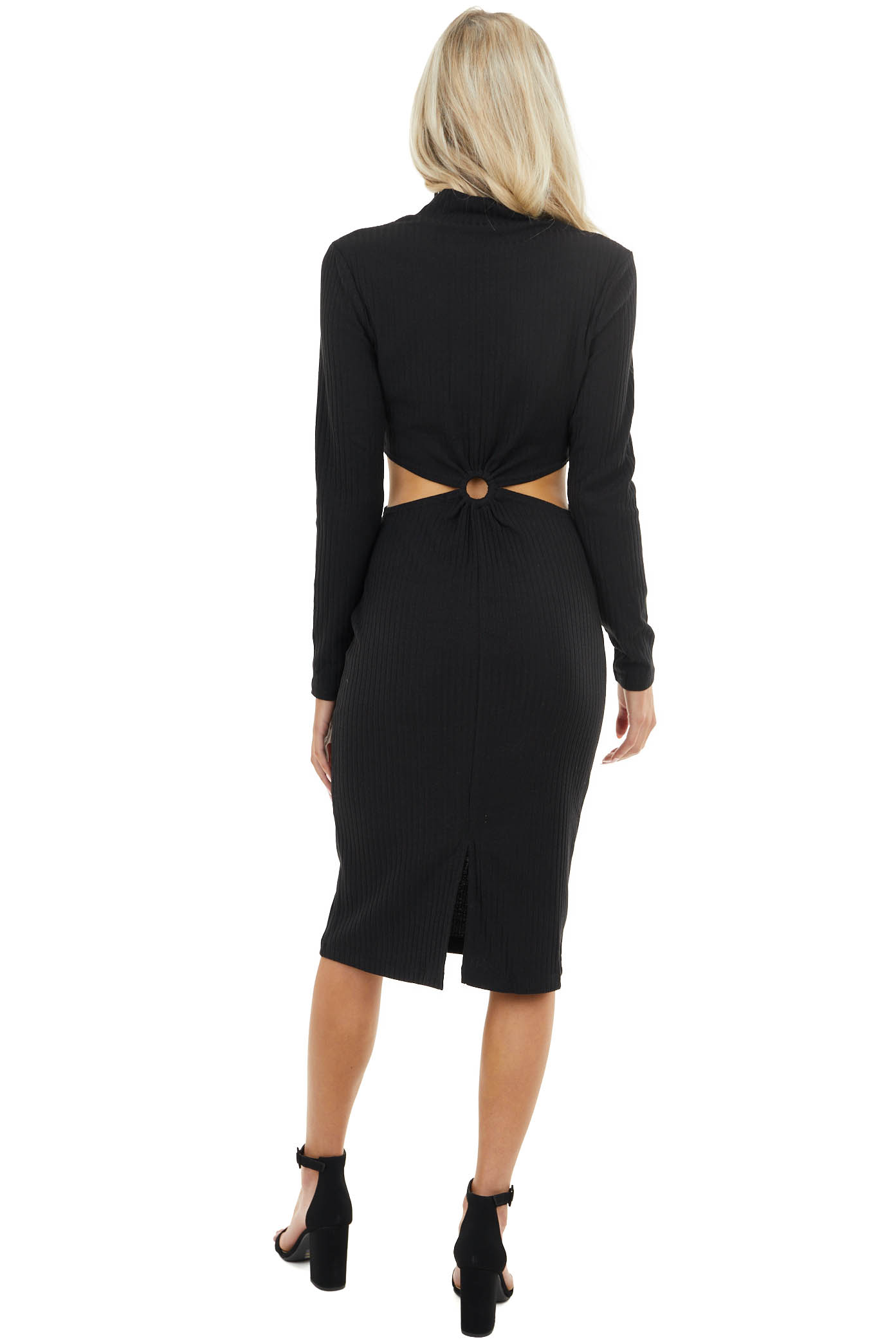 Black Bodycon Ribbed Knit Dress with Waist Cutout Detail