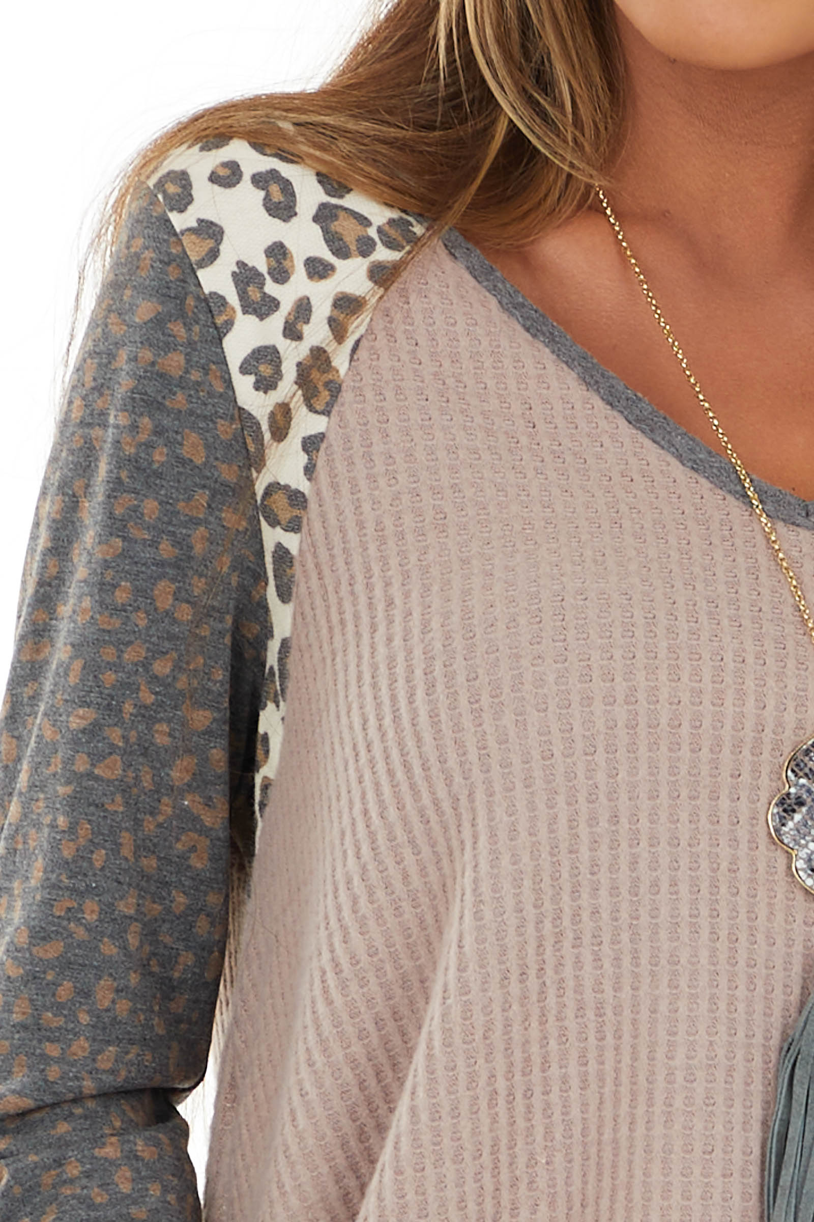Mauve Multiprint Waffle Knit Top with Leopard Long Sleeves