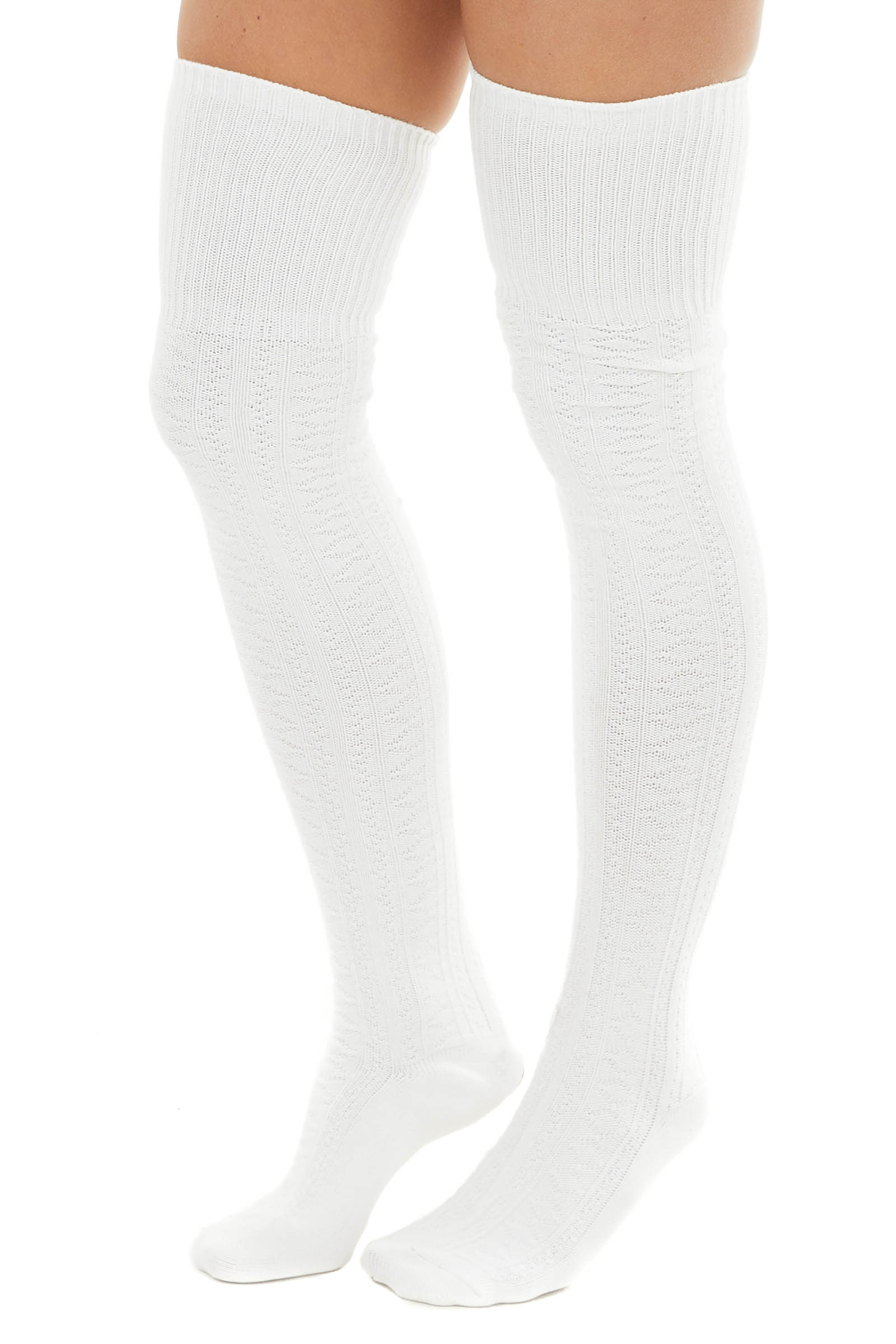 Ivory Small Cable Knit Over the Knee High Fashion Socks