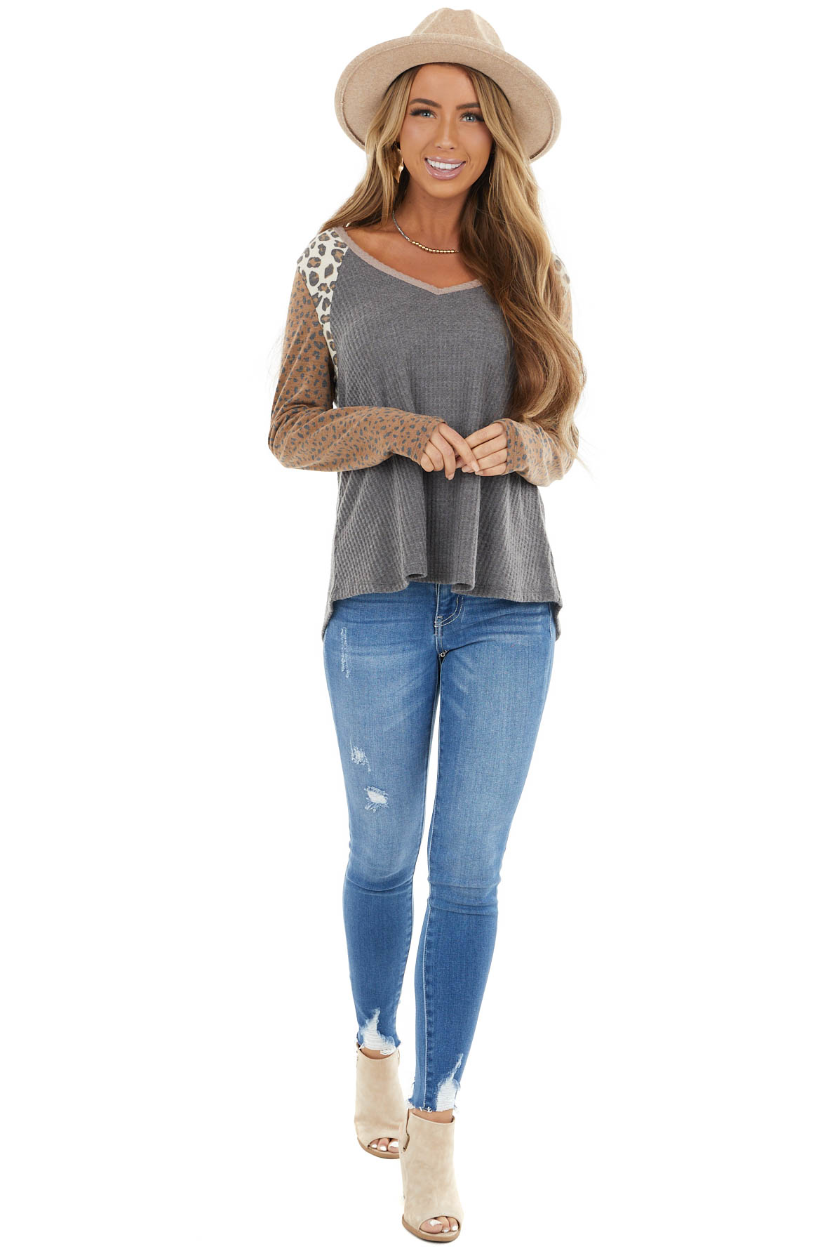 Stone Multiprint Waffle Knit Top with Leopard Long Sleeves