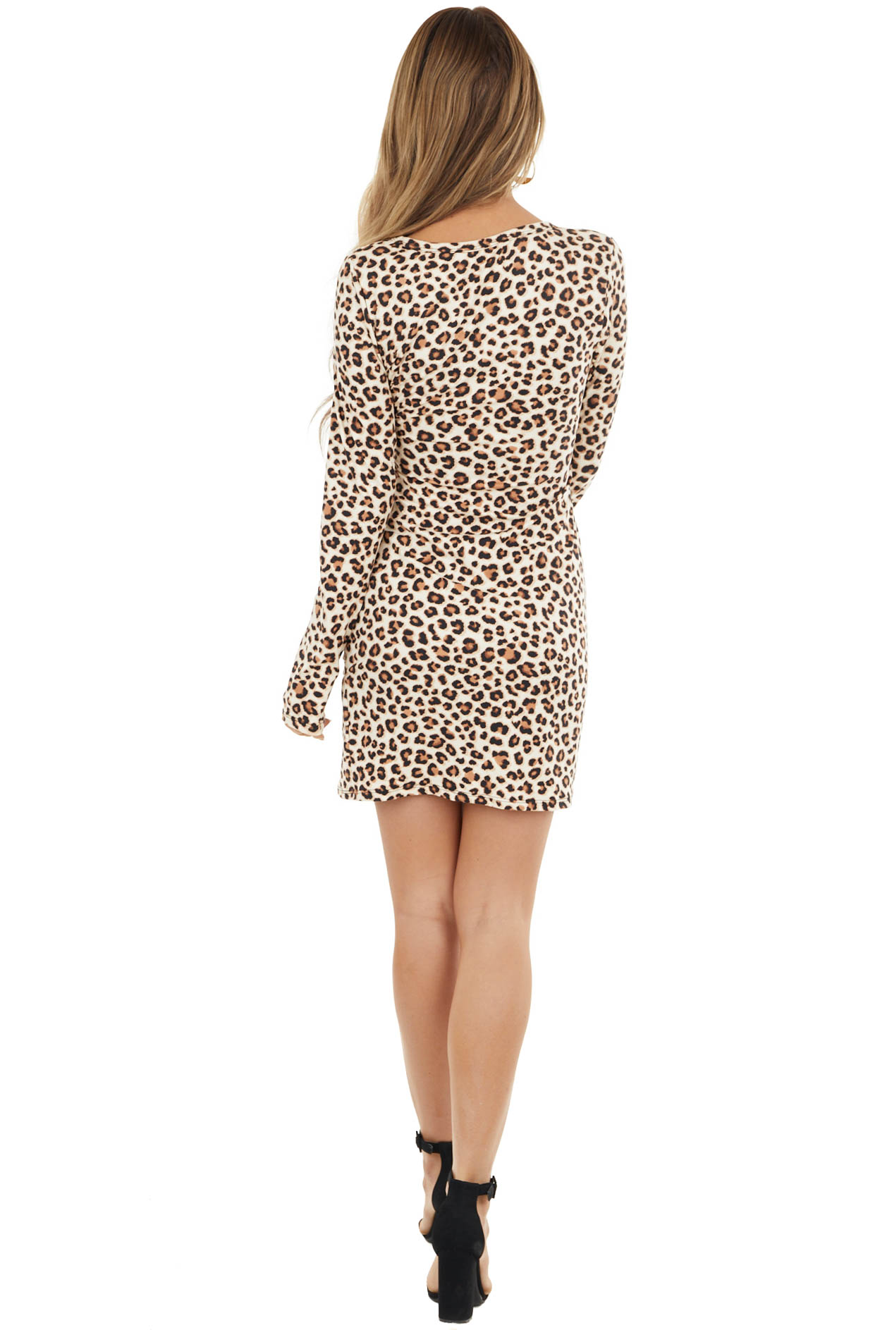 Cream Leopard Print Mini Dress with Layered Ruched Hem