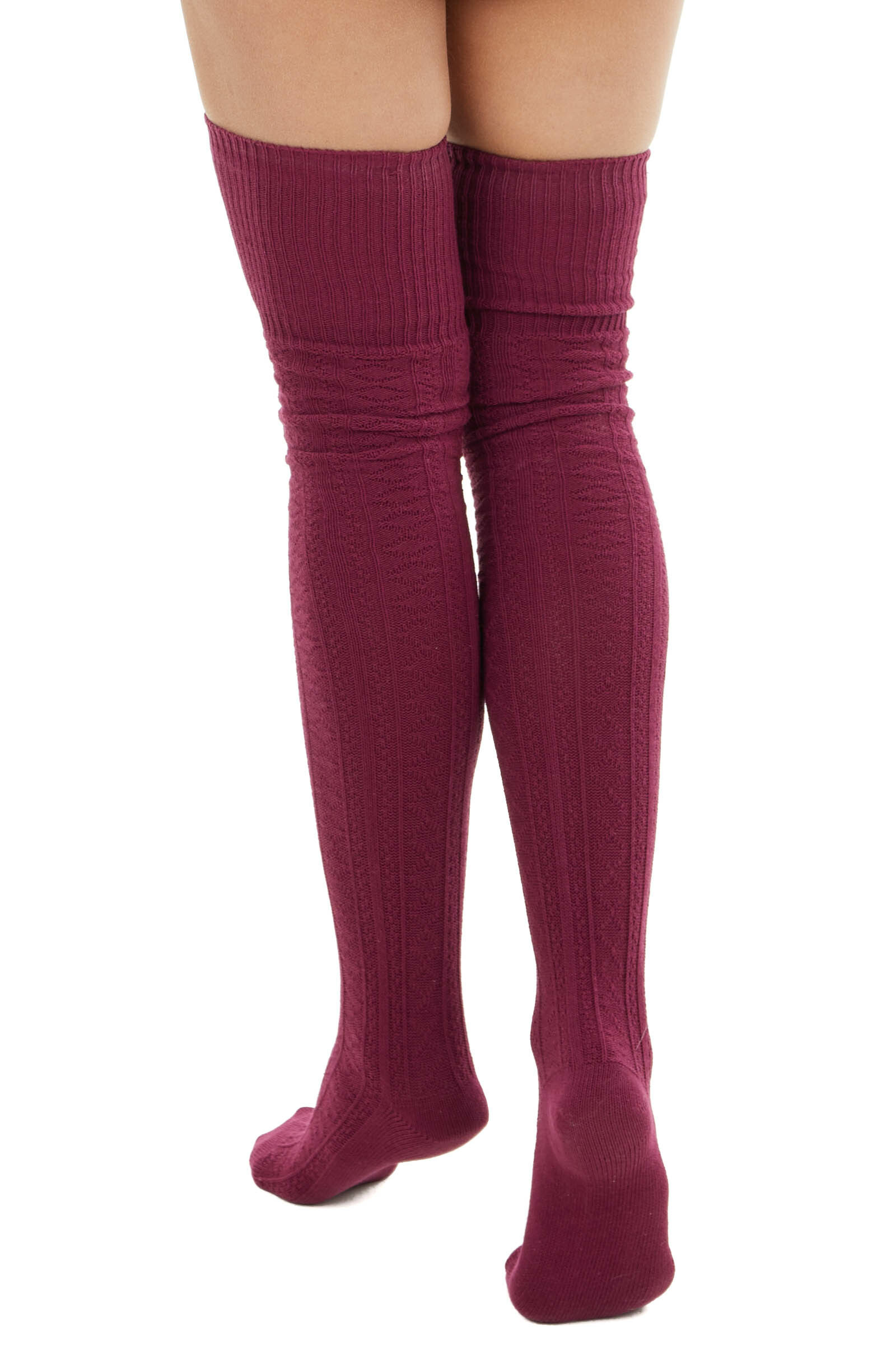 Burgundy Small Cable Knit Over the Knee High Fashion Socks