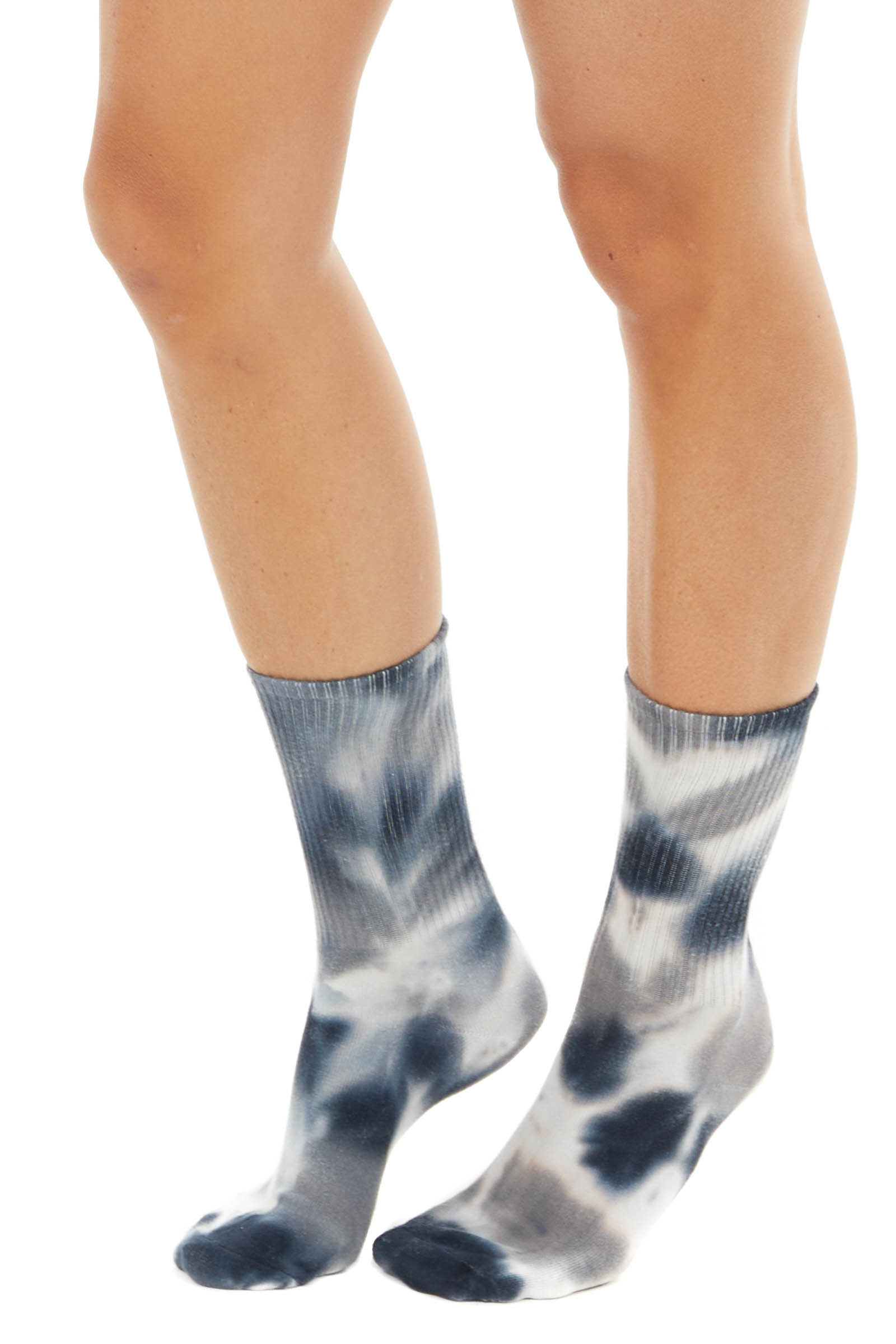 Black and White Tie Dye Mid Calf Ribbed Knit Socks