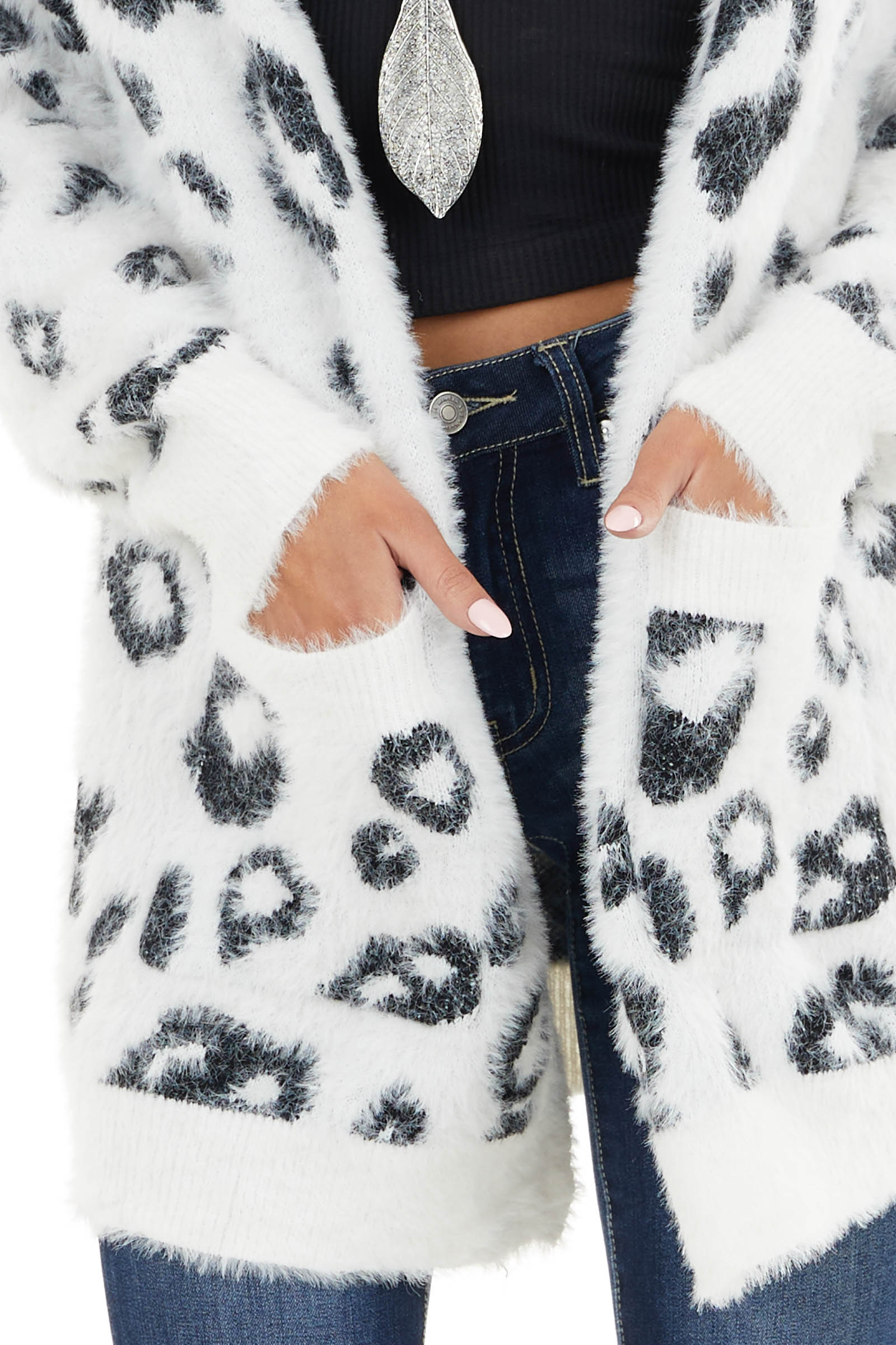 Ivory and Black Leopard Print Cardigan with Pocket Details