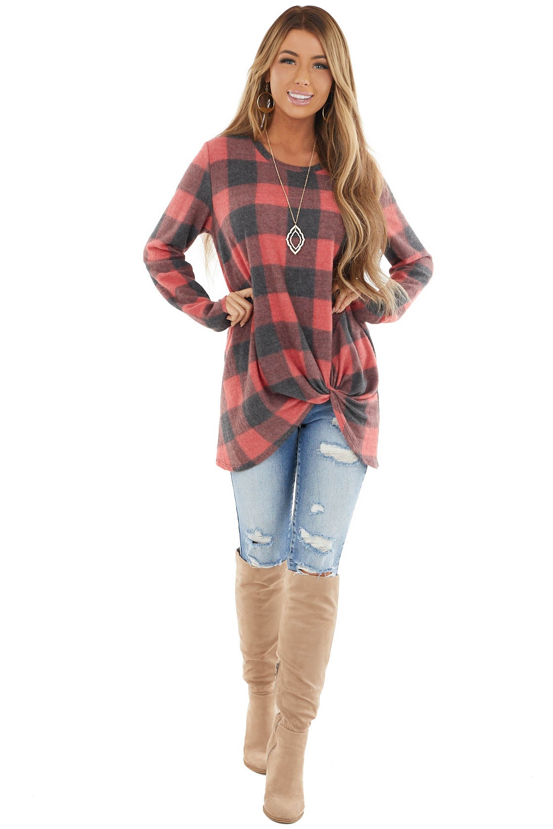 Ruby Buffalo Plaid Fuzzy Knit Top with Front Knot Detail