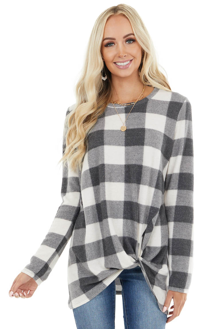 Ivory Buffalo Plaid Fuzzy Knit Top with Front Knot Detail