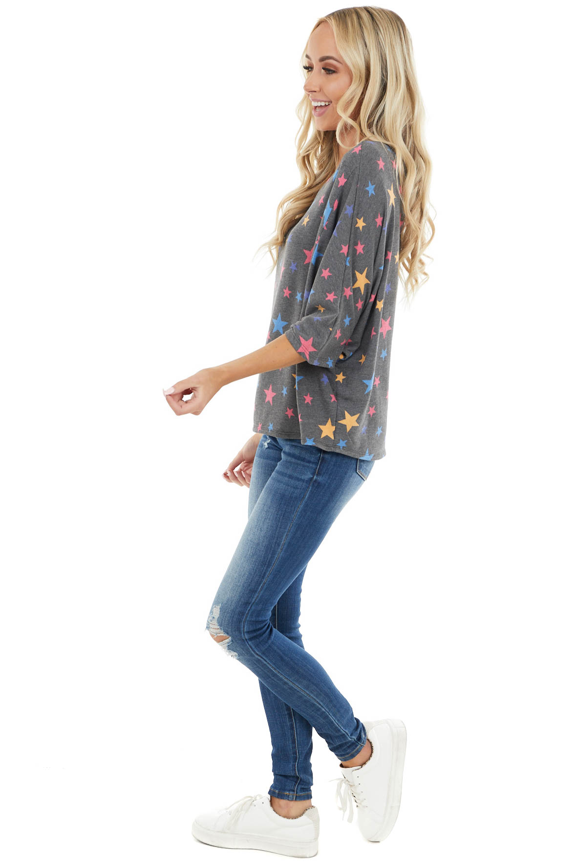 Charcoal Dolman 3/4 Sleeve Top with Star Print Detail
