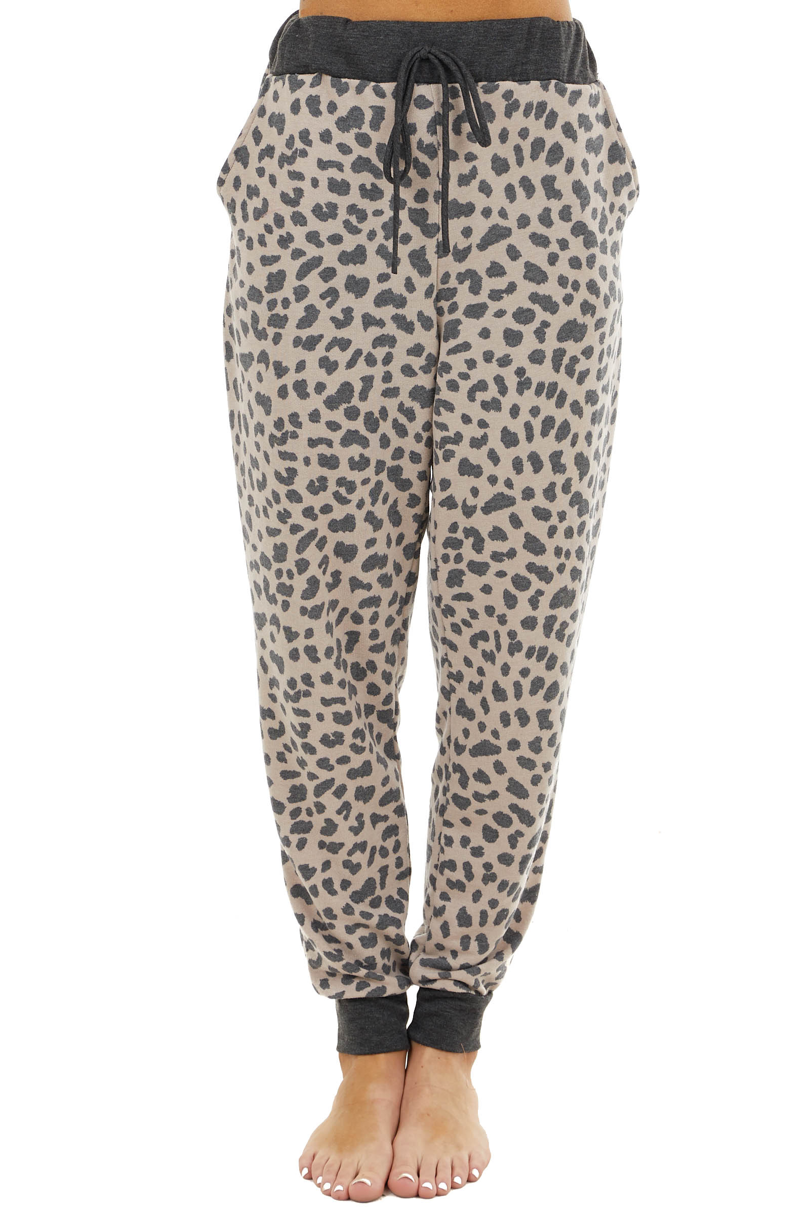 Latte and Charcoal Leopard Print Joggers with Side Pockets