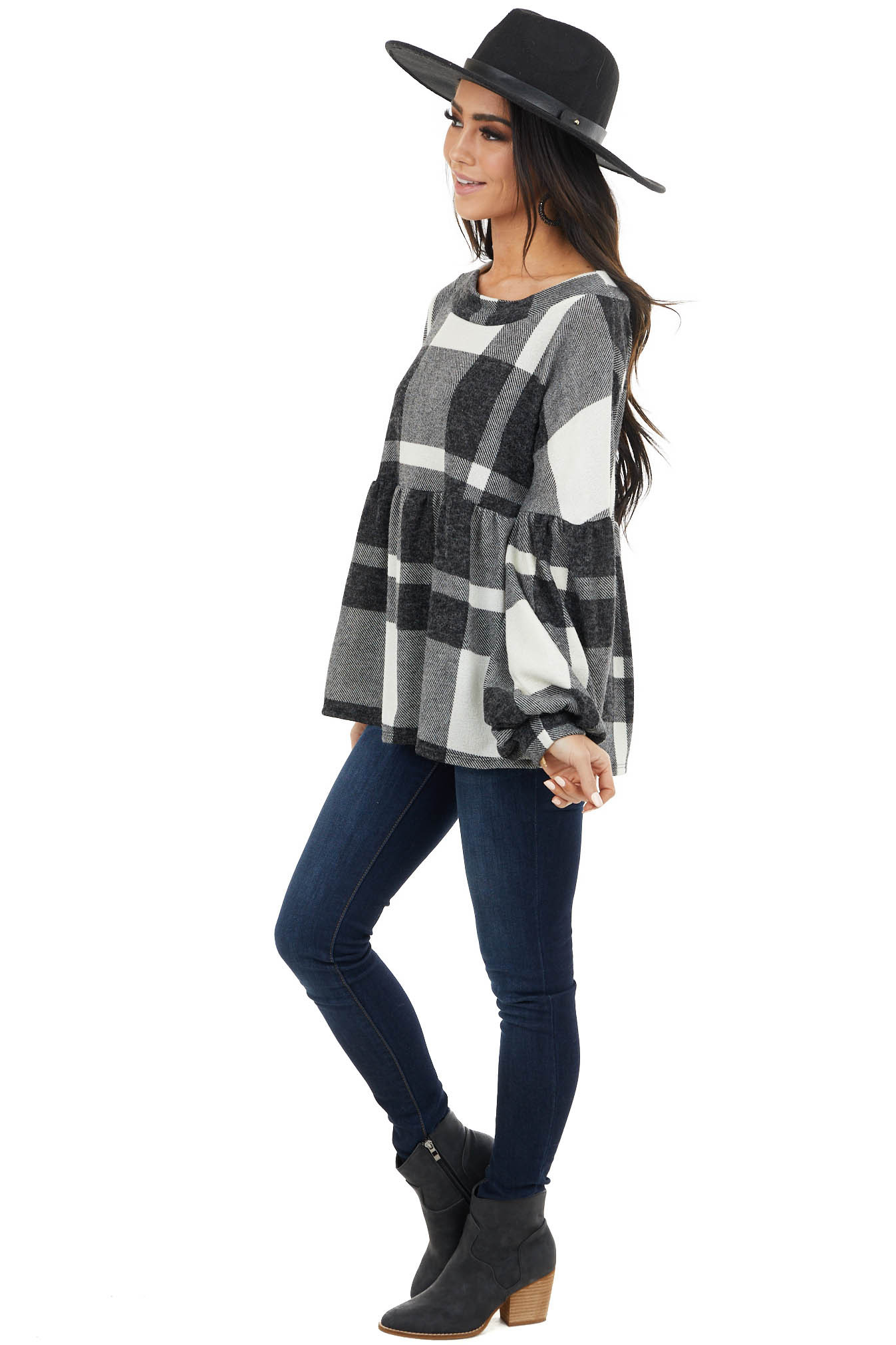 Ivory Fuzzy Buffalo Plaid Babydoll Top with Balloon Sleeves