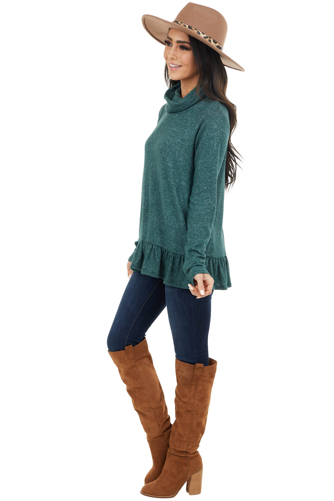 Pine Green Two Tone Cowl Neck Top with Ruffle Hem