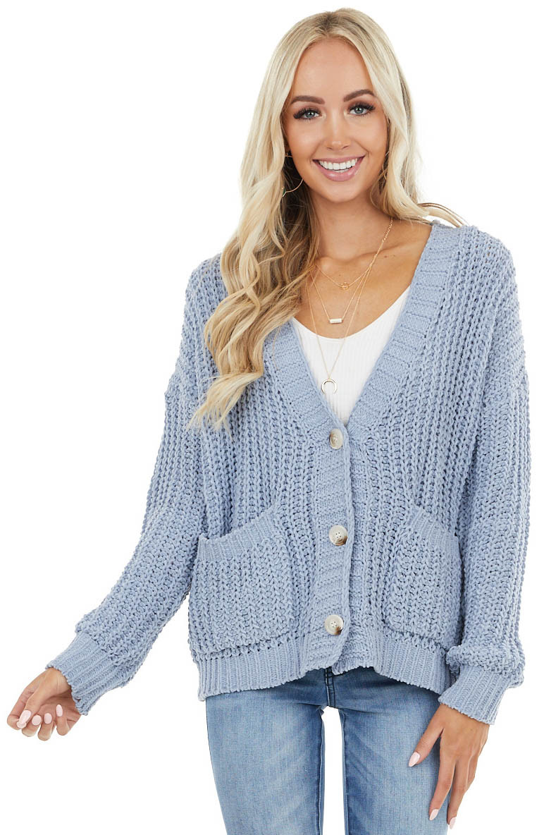 Slate Blue Loose Knit Cardigan with Button Closure