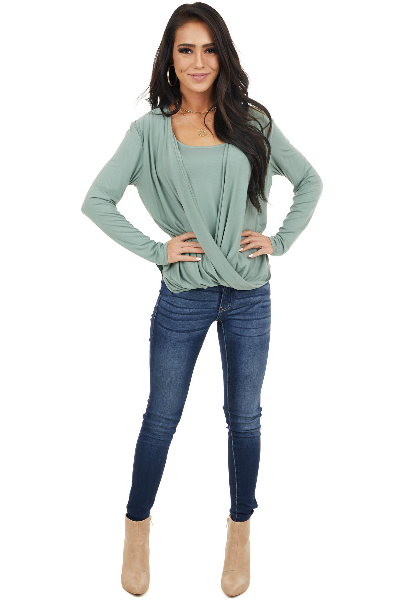 Sage Knit Long Sleeve Top with Draped Surplice Detail