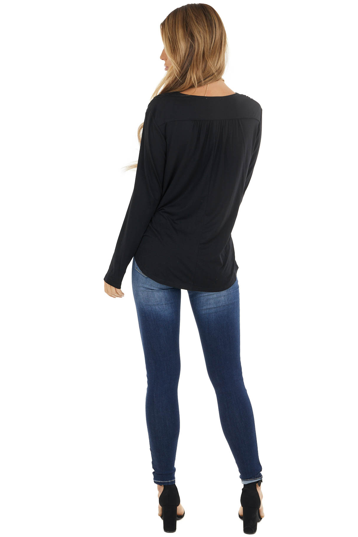 Black Knit Long Sleeve Top with Draped Surplice Detail