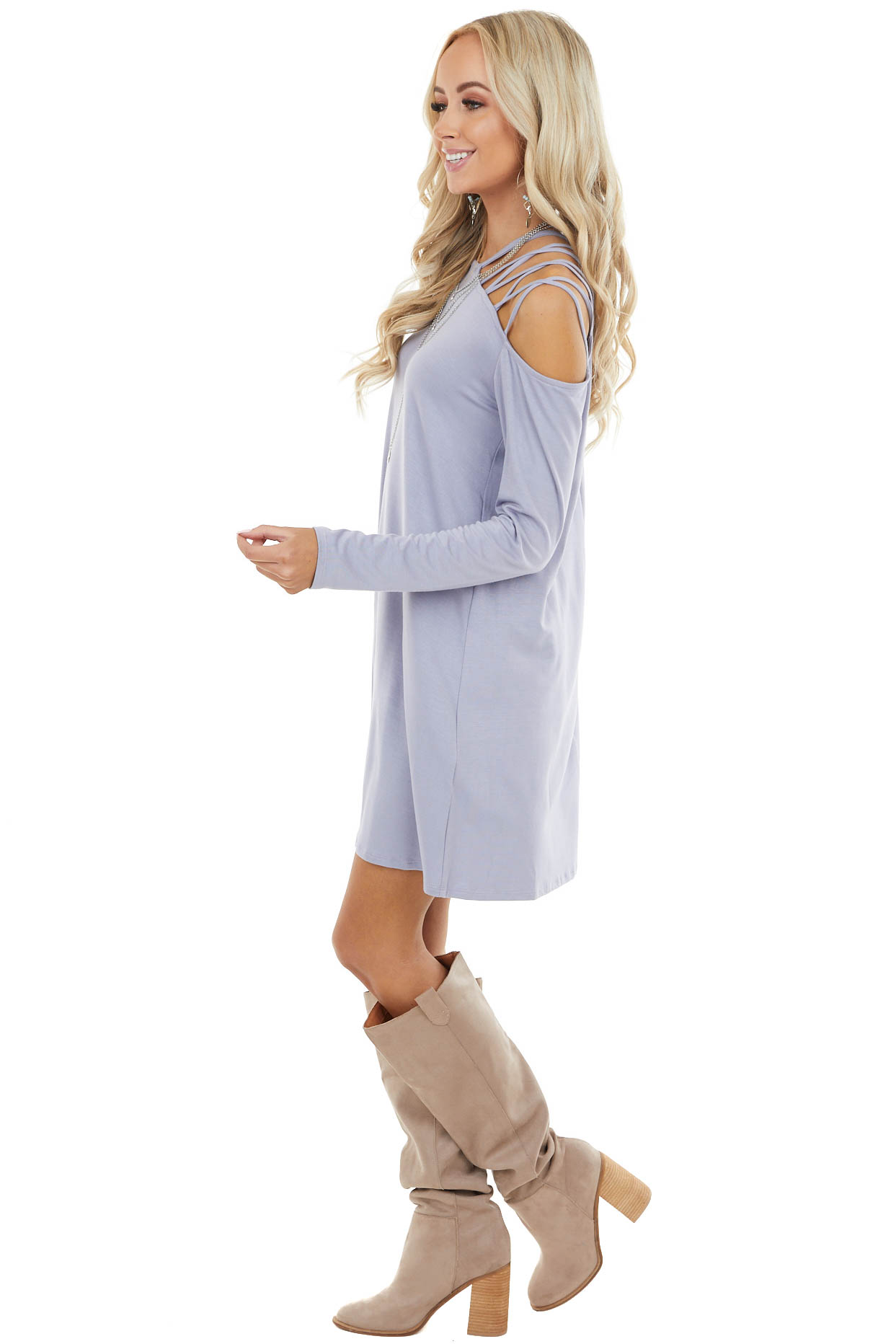 Periwinkle Cold Shoulder Mini Dress with Criss Cross Straps