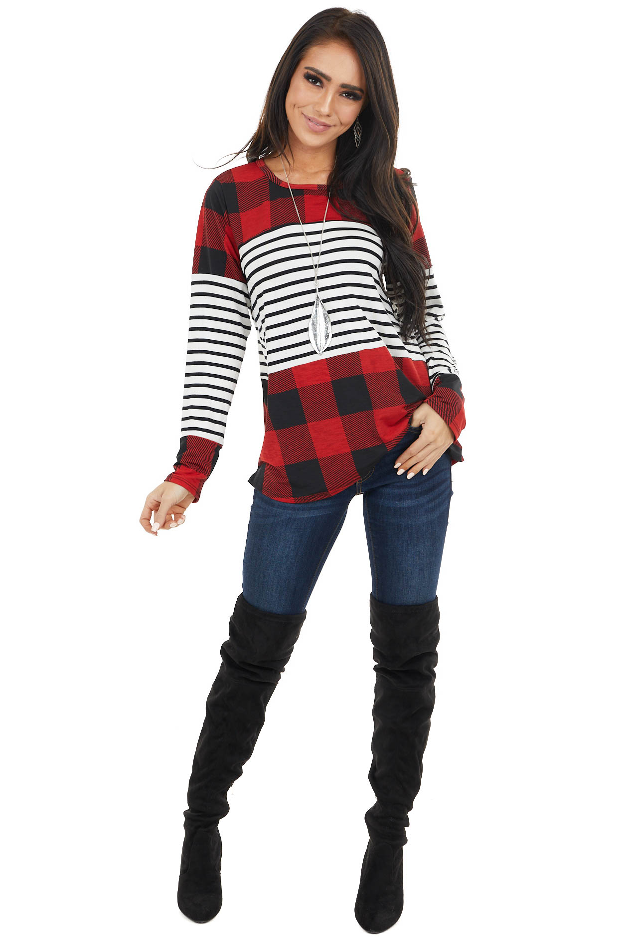 Cherry and Black Buffalo Plaid and Striped Long Sleeve Top