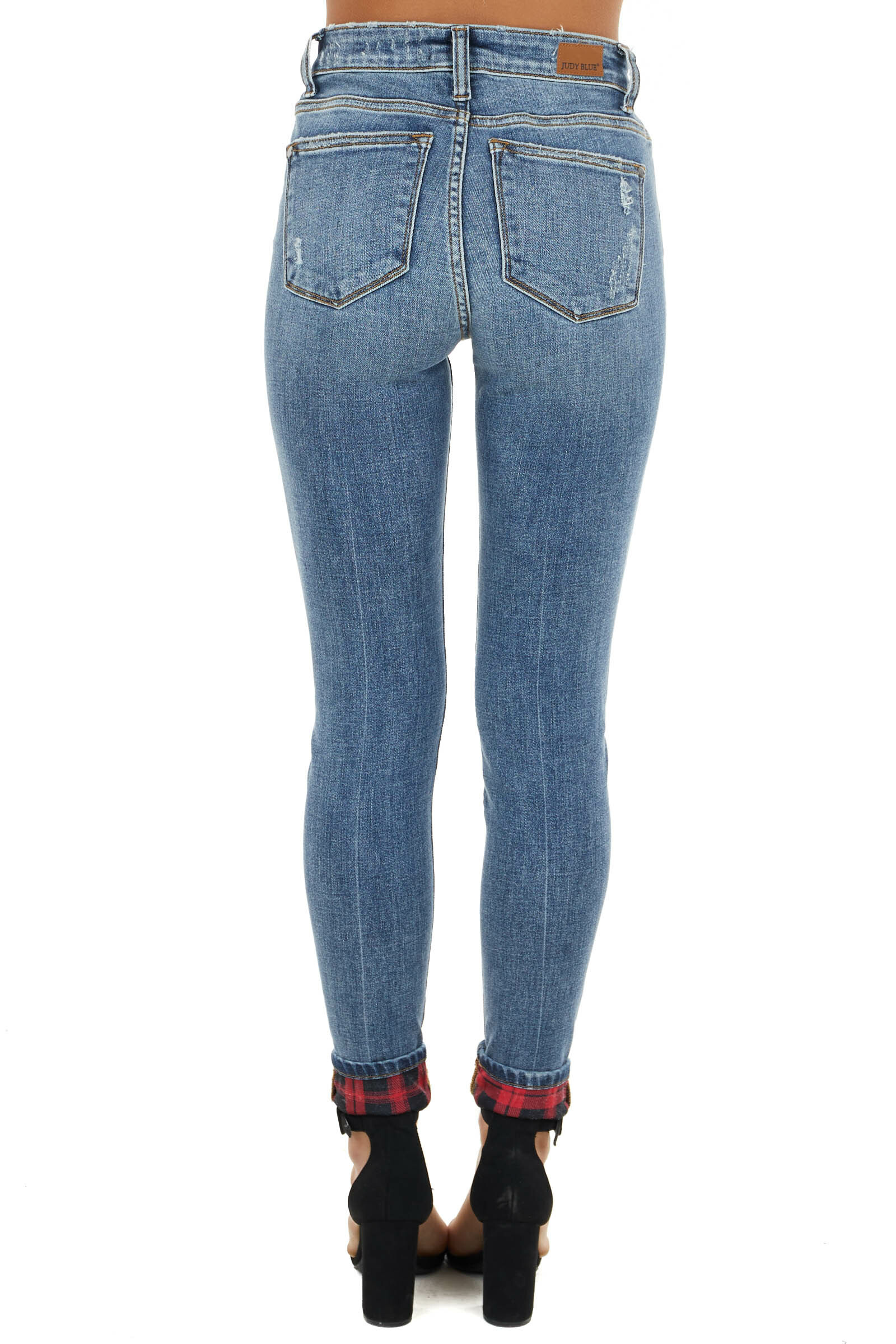 Medium Wash Mid Rise Skinny Jeans with Plaid Patch and Cuffs