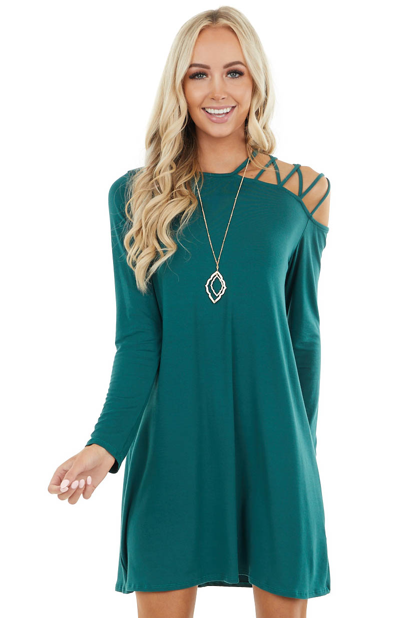 Pine Cold Shoulder Mini Dress with Criss Cross Straps