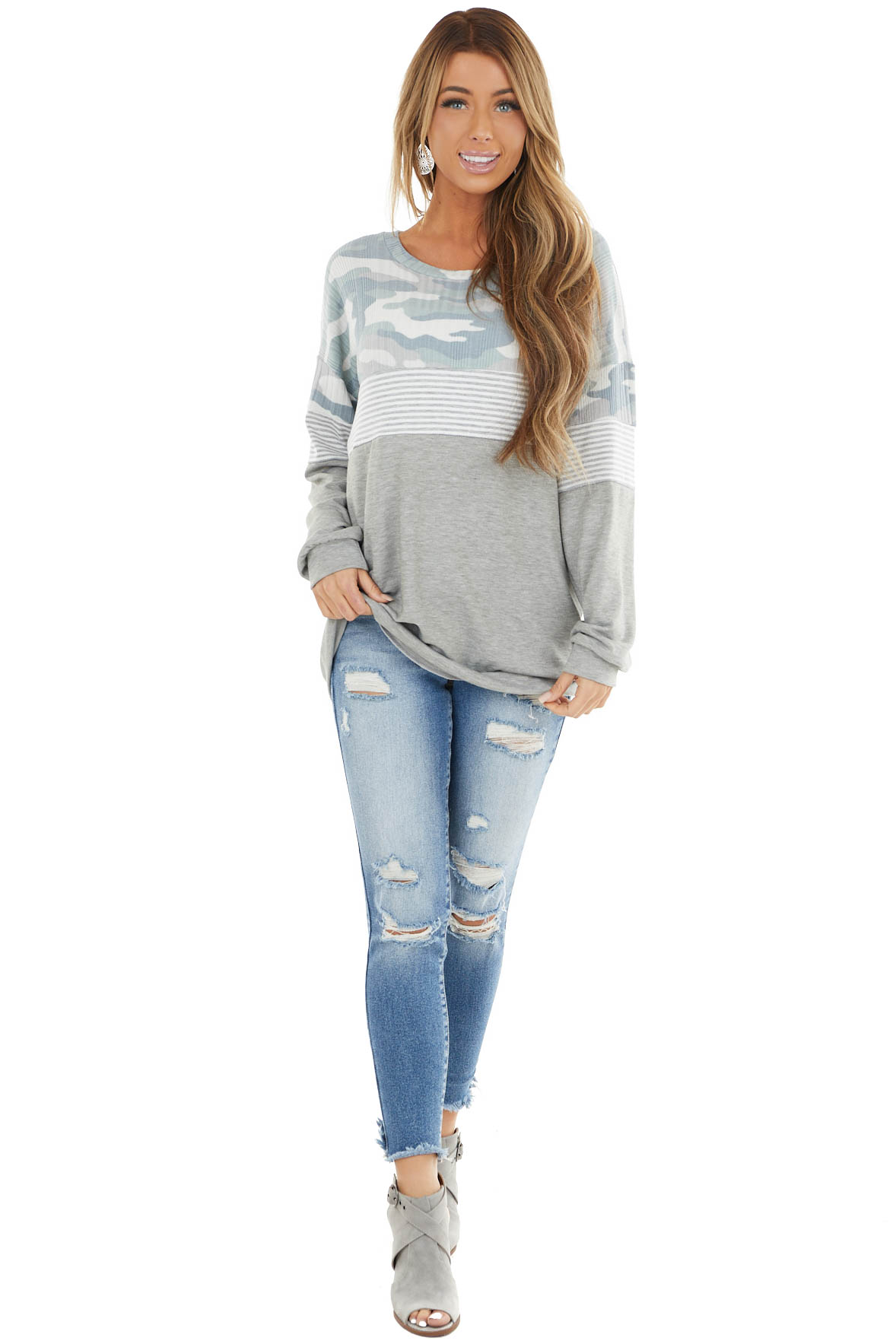 Heather Grey Multiprint Long Sleeve Knit Top with Wide Neck
