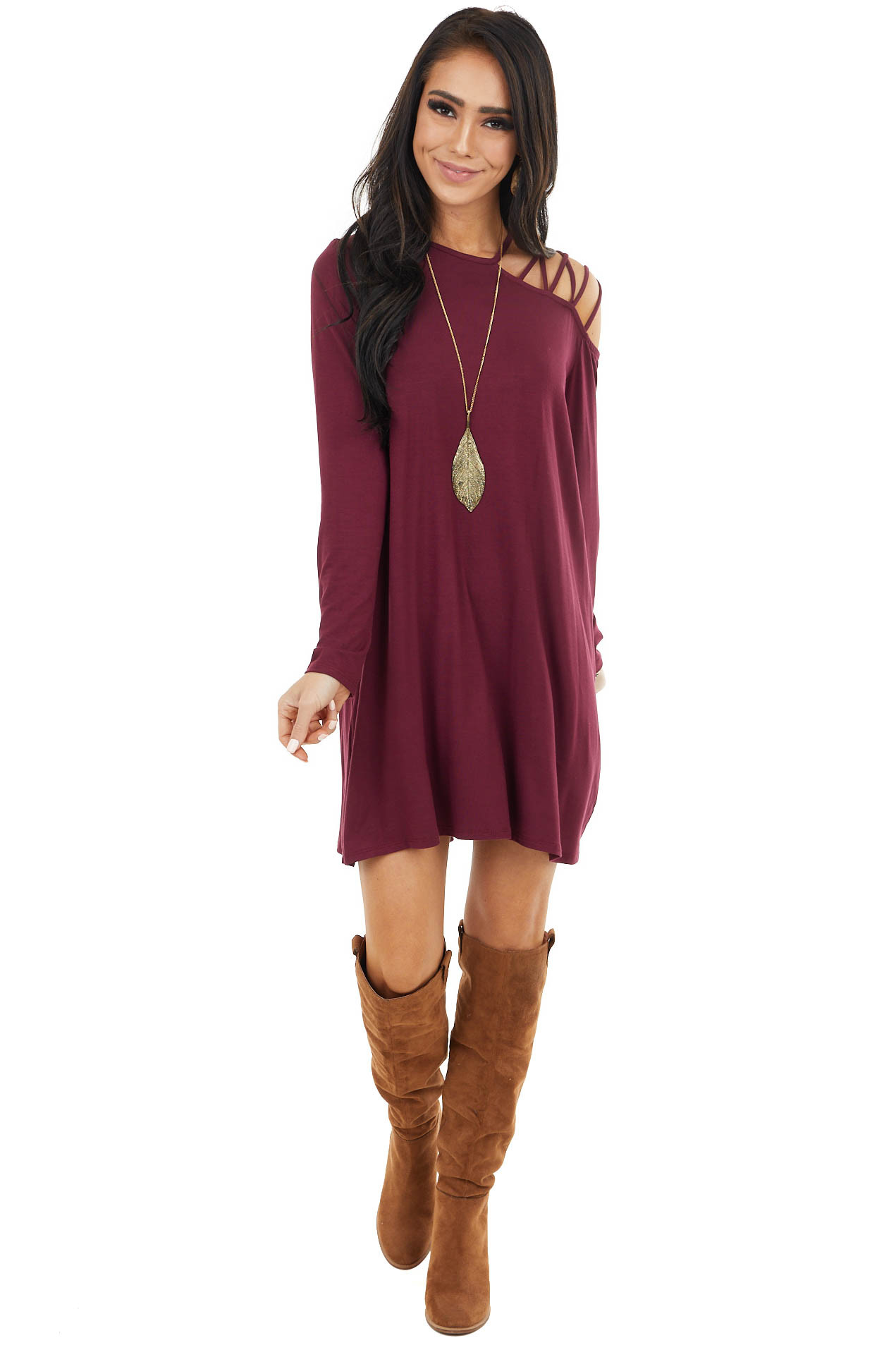 Wine One Cold Shoulder Mini Dress with Criss Cross Straps