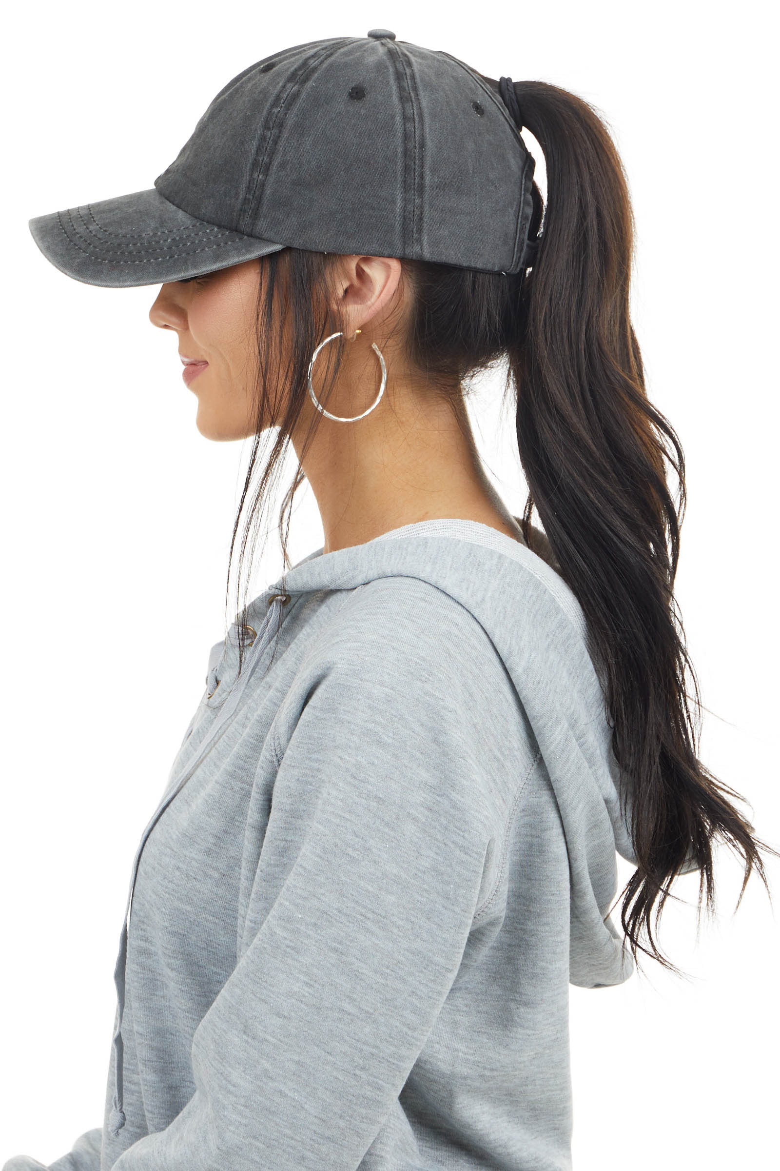 Charcoal Grey Mineral Wash Baseball Cap with Ponytail Hole