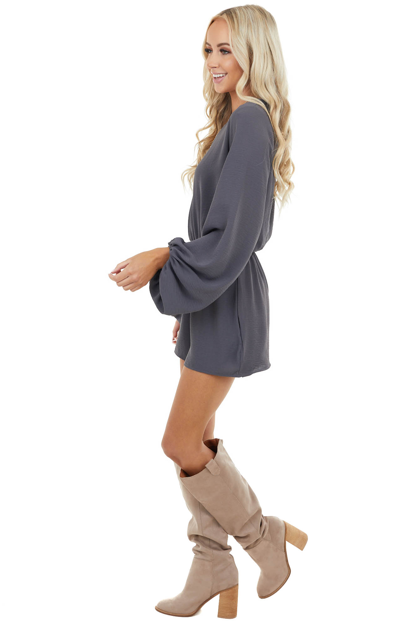 Stormy Grey Romper with Long Puff Sleeve and Side Pockets