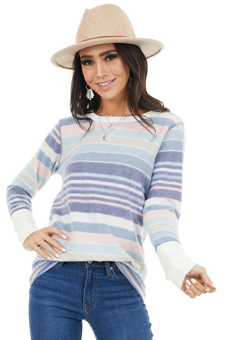 Indigo Blue and Ivory Striped Long Sleeve Super Soft Top