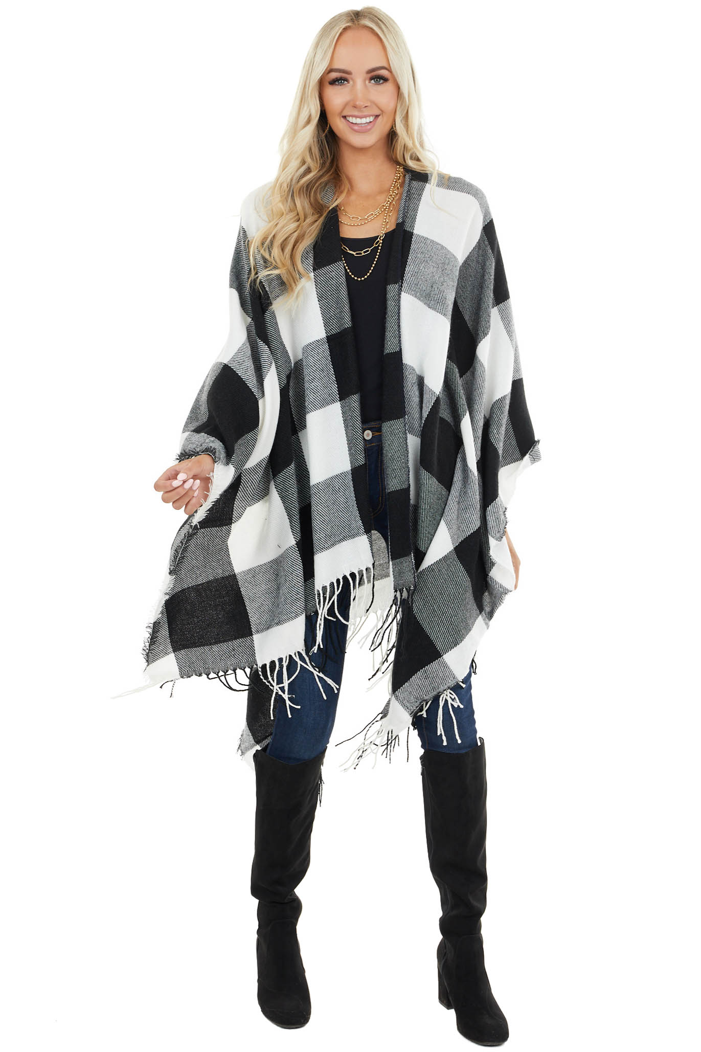 Black and White Buffalo Plaid Shawl Wrap with Frayed Edges