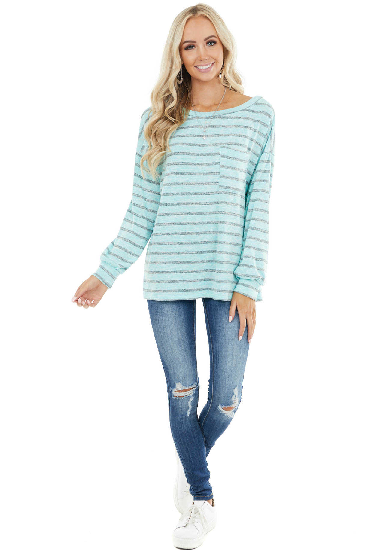 Aqua and Grey Striped Long Sleeve Knit Top with Chest Pocket