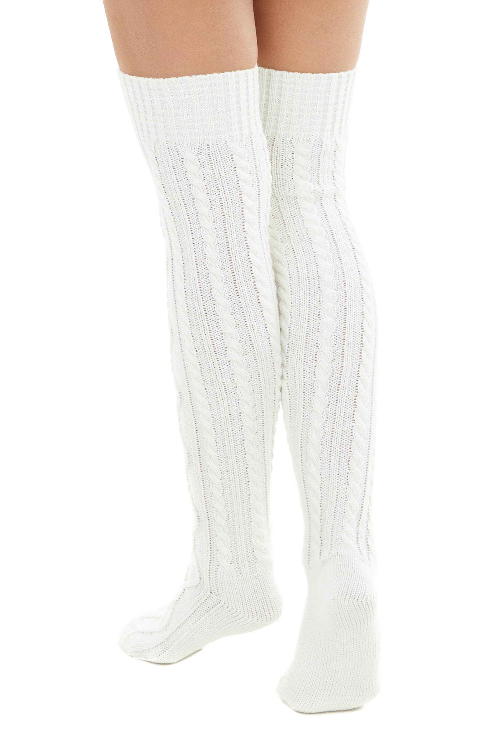 Ivory Cable Knit Over the Knee High Fashion Socks