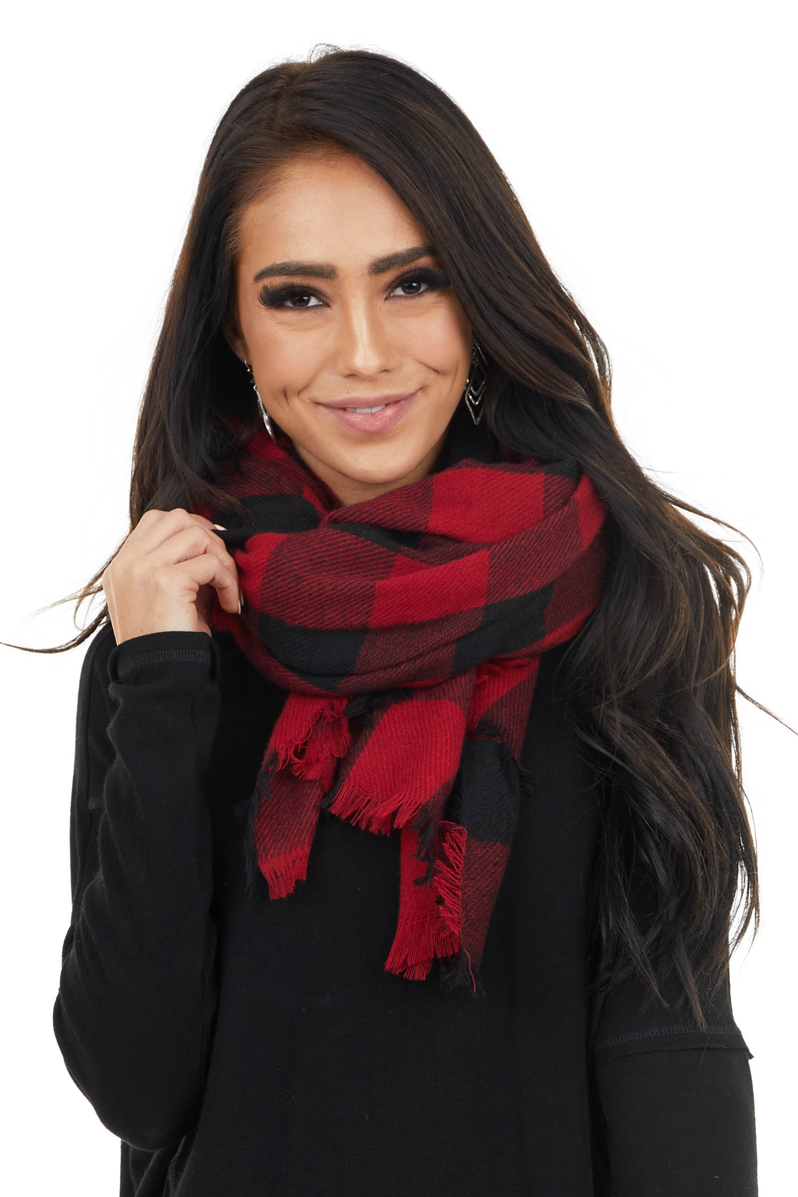 Cherry Red Buffalo Plaid Wrap Scarf with Frayed Edges