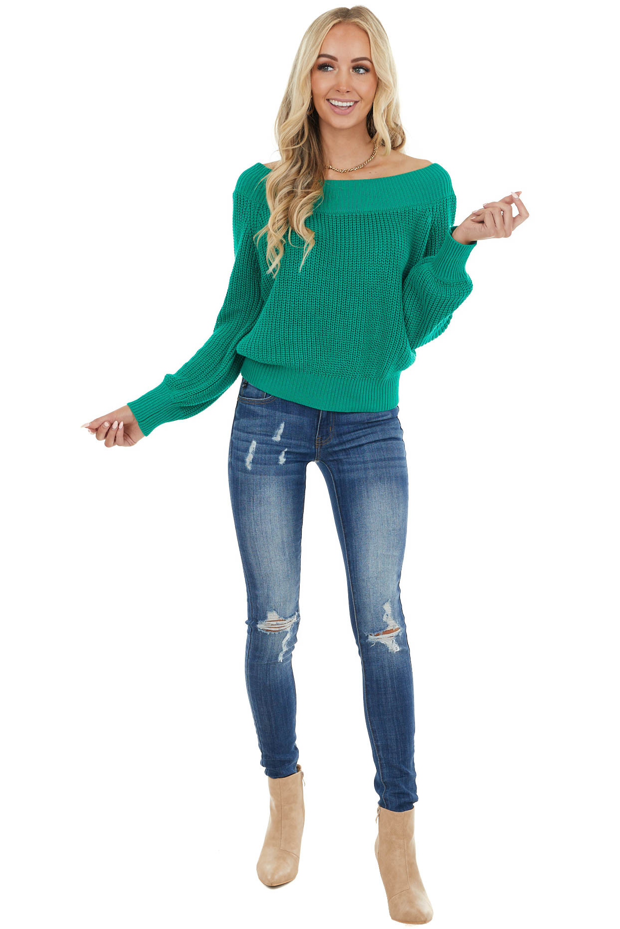 Kelly Green Off the Shoulder Ribbed Long Sleeve Sweater