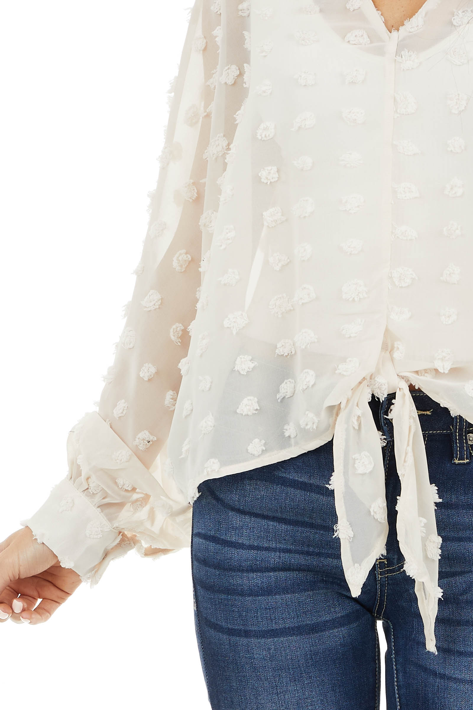 Cream Swiss Dot Sheer Woven Top with Long Dolman Sleeves