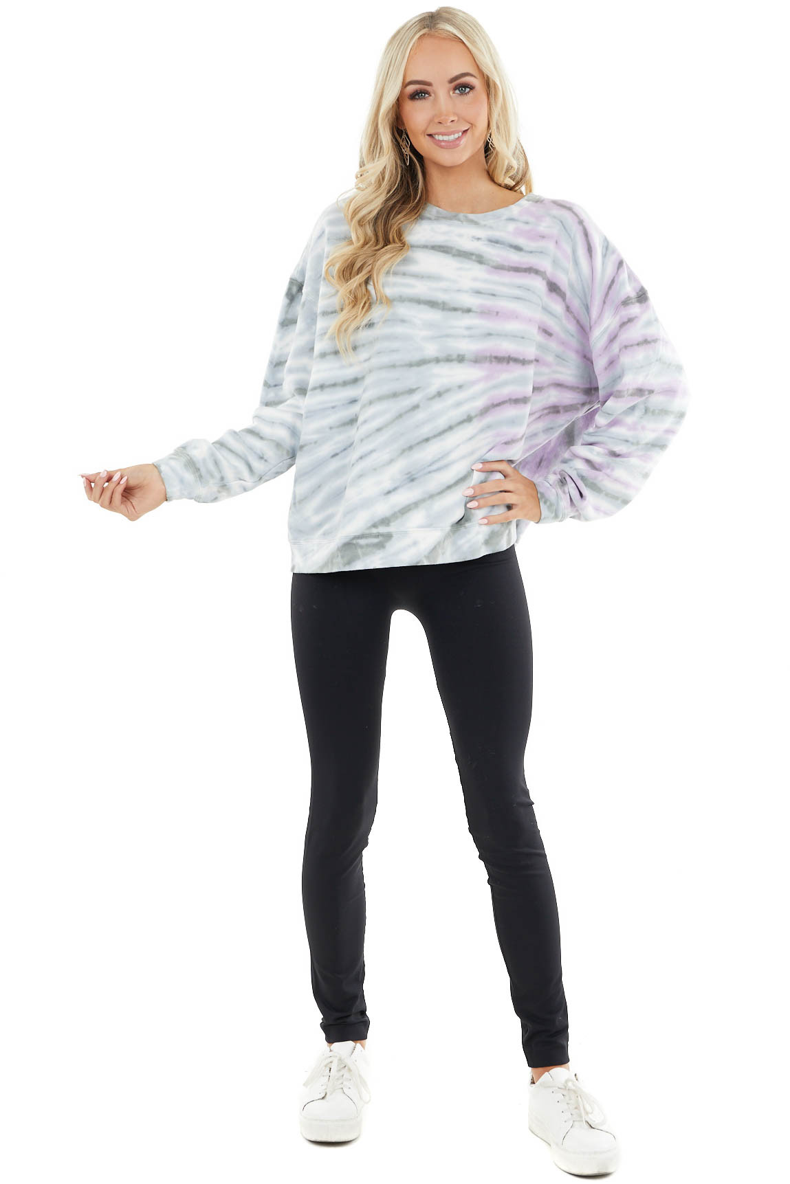 Dusty Blue and Iris Purple Tie Dye Loose Fit Pullover