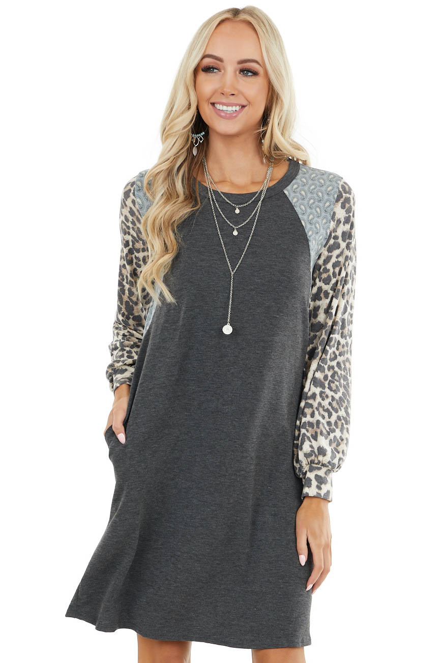 Charcoal Long Sleeve Dress with Paisley and Leopard Detail