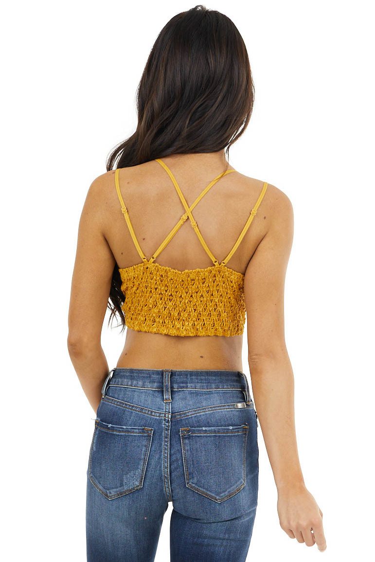 Mustard Floral Lace Bralette with Criss Cross Straps