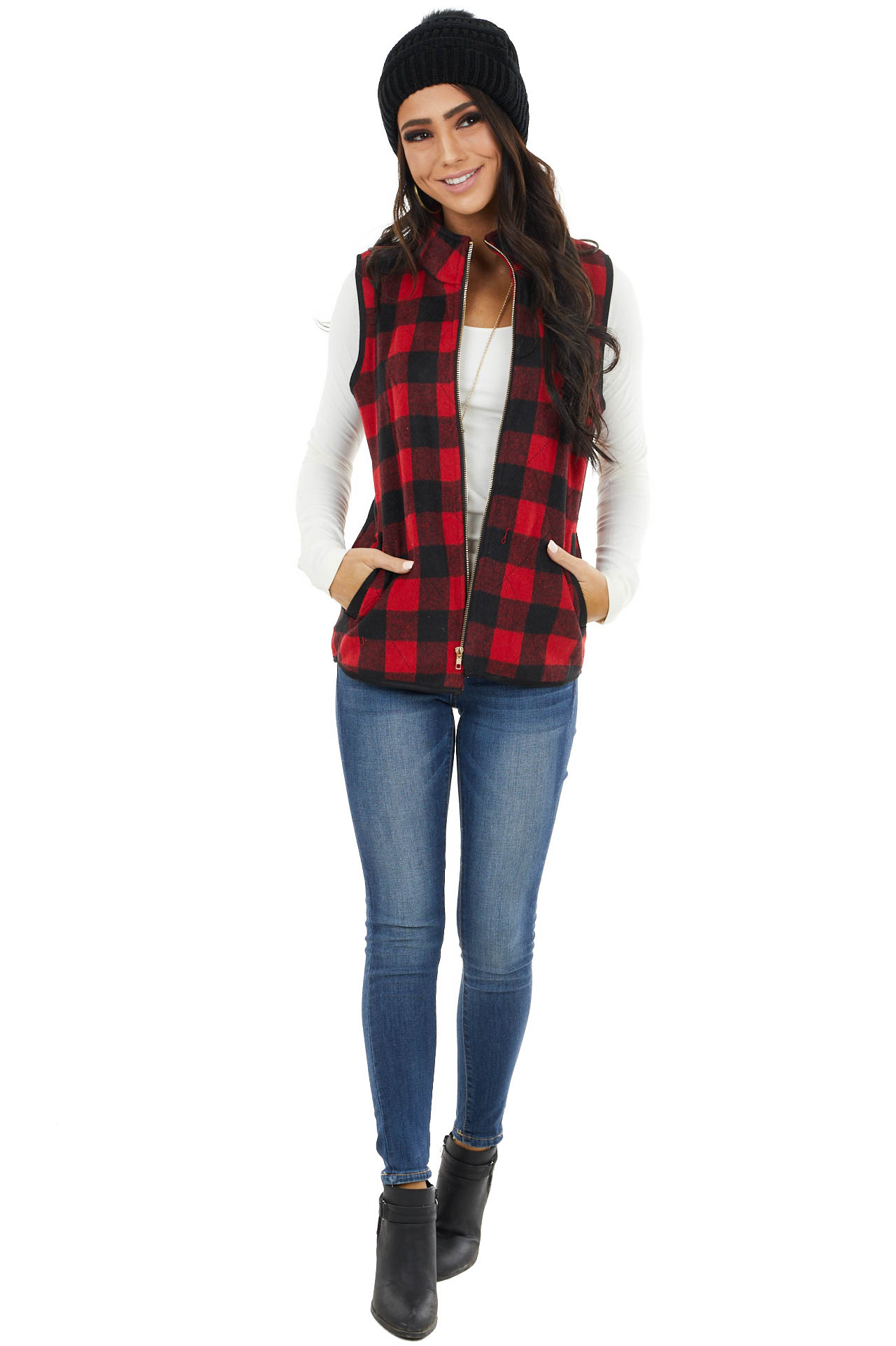 Candy Apple Buffalo Plaid Zip Up Front Vest with Pockets