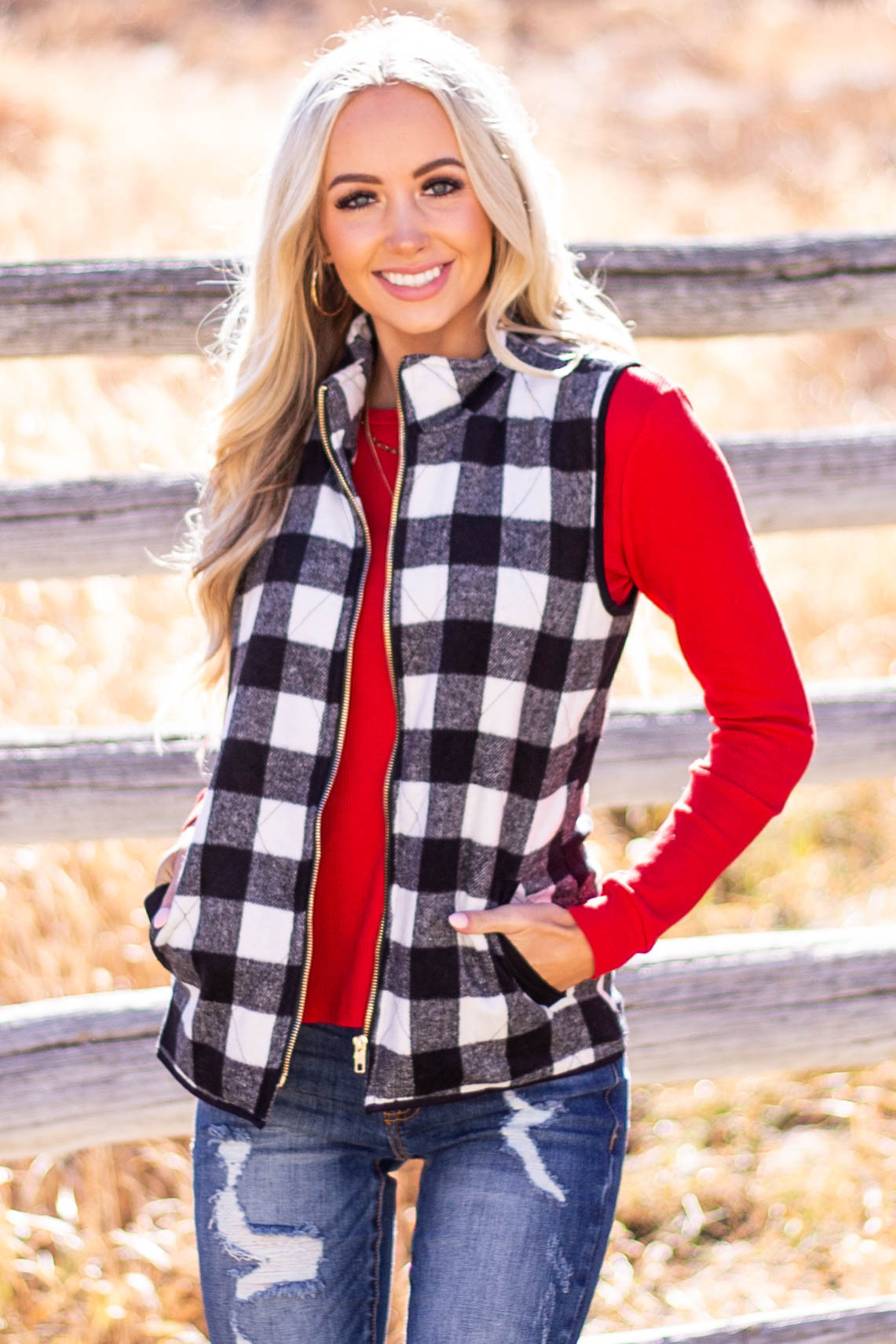 Off White Buffalo Plaid Zip Up Front Vest with Pockets