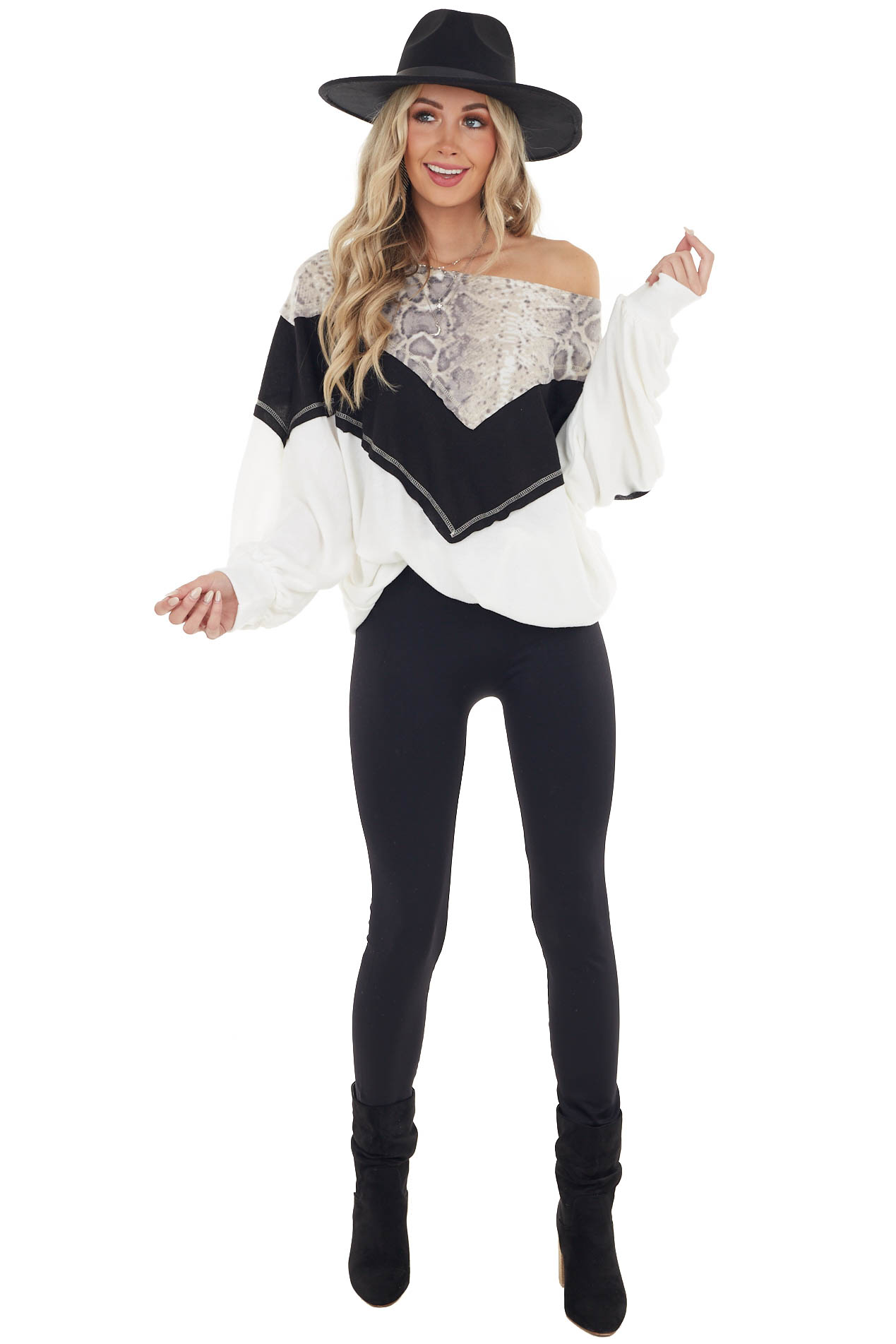 Black and White Long Sleeve Top with Animal Print Contrast