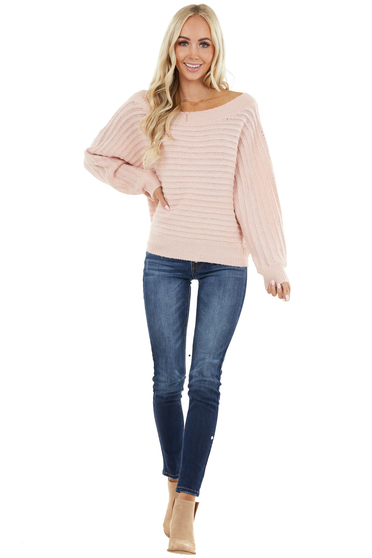 Blush Ribbed Knit Off Shoulder Long Dolman Sleeve Sweater