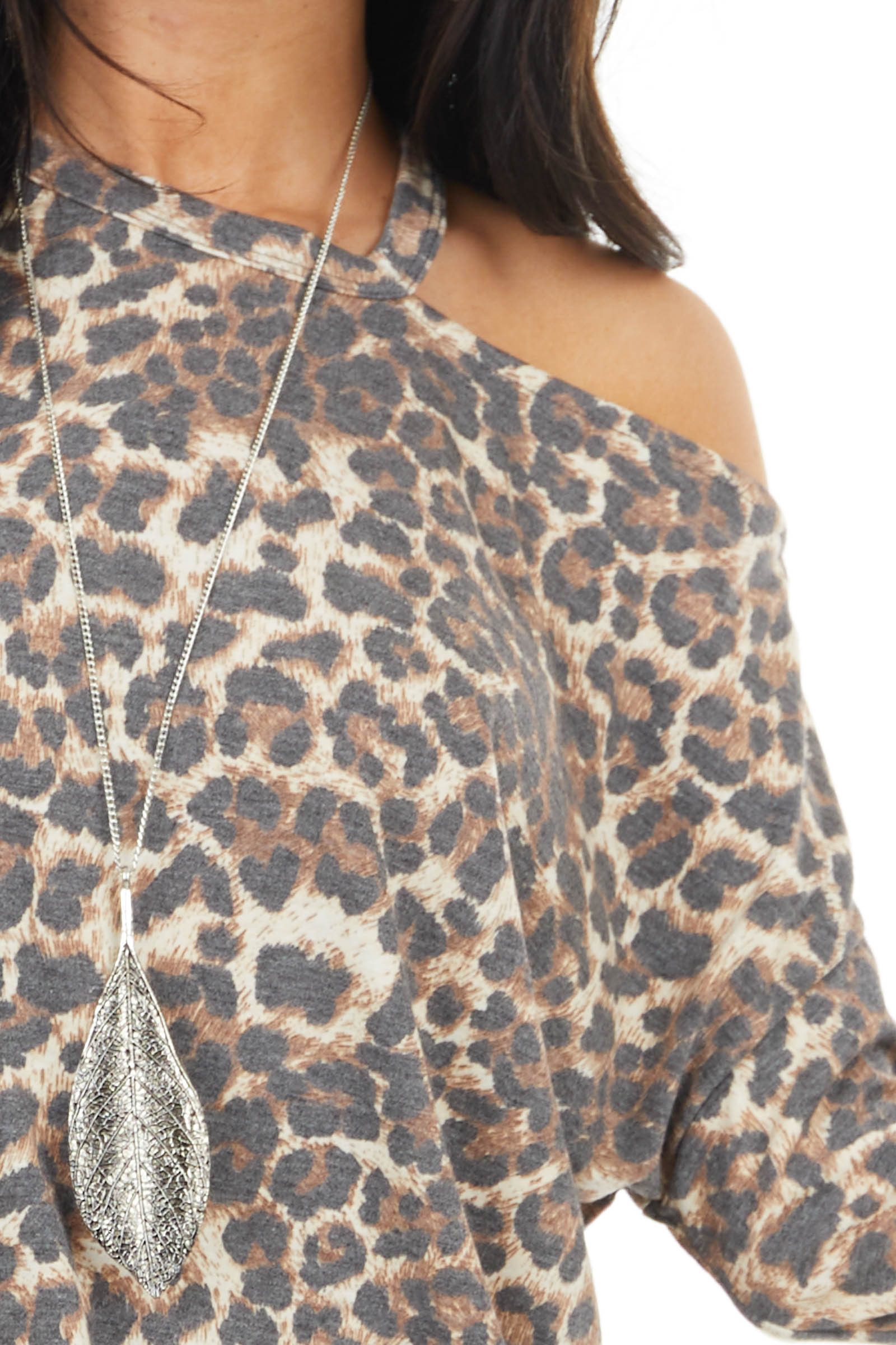 Cognac Leopard Print Long Sleeve Top with Cutout Detail