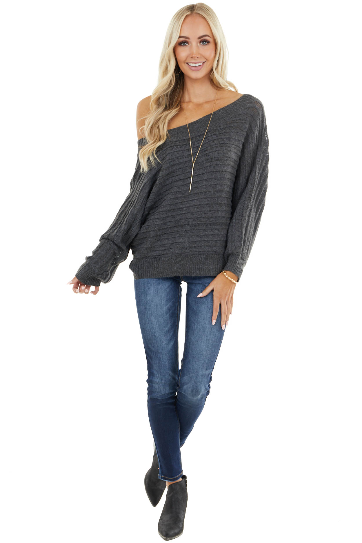 Charcoal Ribbed Knit Off Shoulder Long Dolman Sleeve Sweater